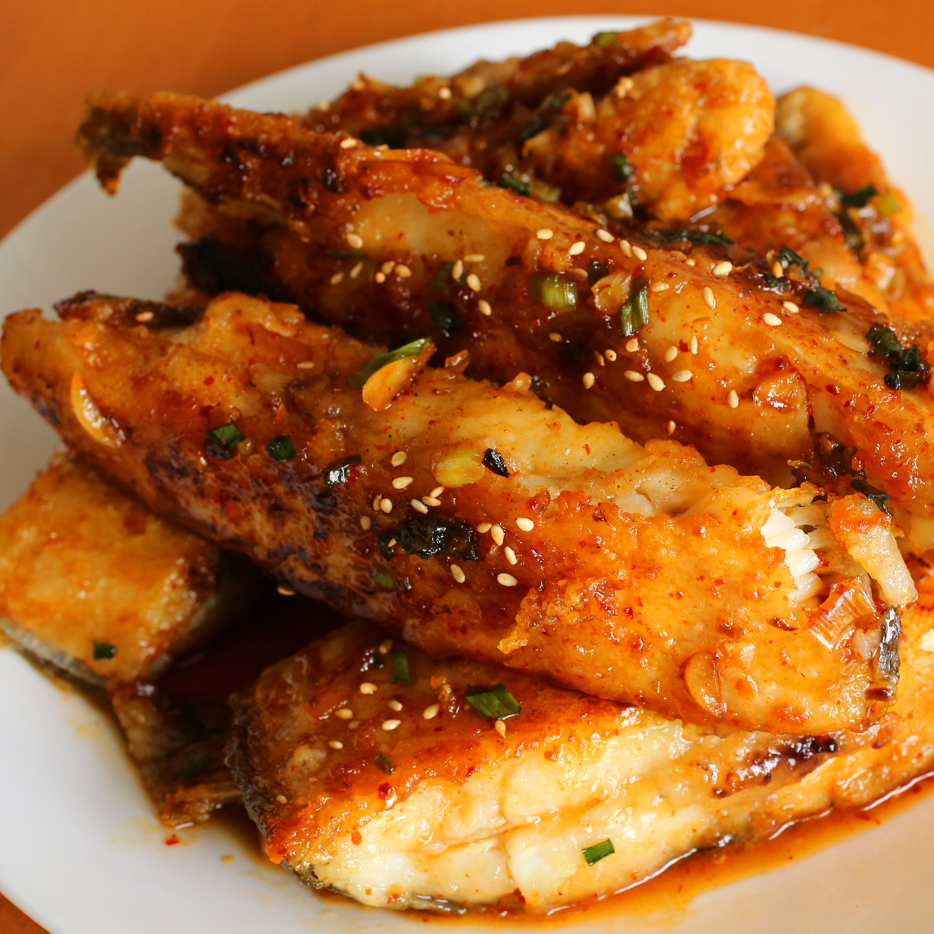 Seasoned pan fried flatfish (Gajami yangnyeom-twigim: 가자미 양념 ...