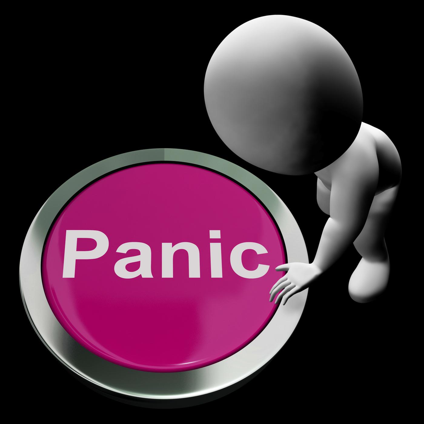 Panic button shows alarm distress and crisis photo
