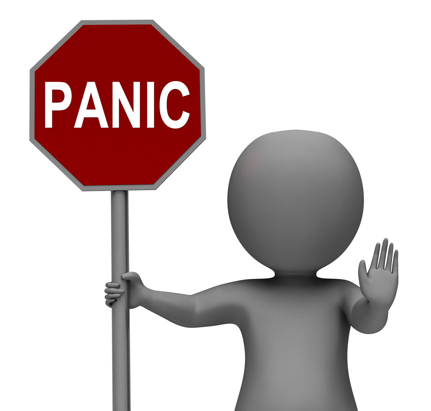 Panic Stop Sign Shows Stopping Anxiety Panicking, 3d, Panicking, Stressed, Stress, HQ Photo