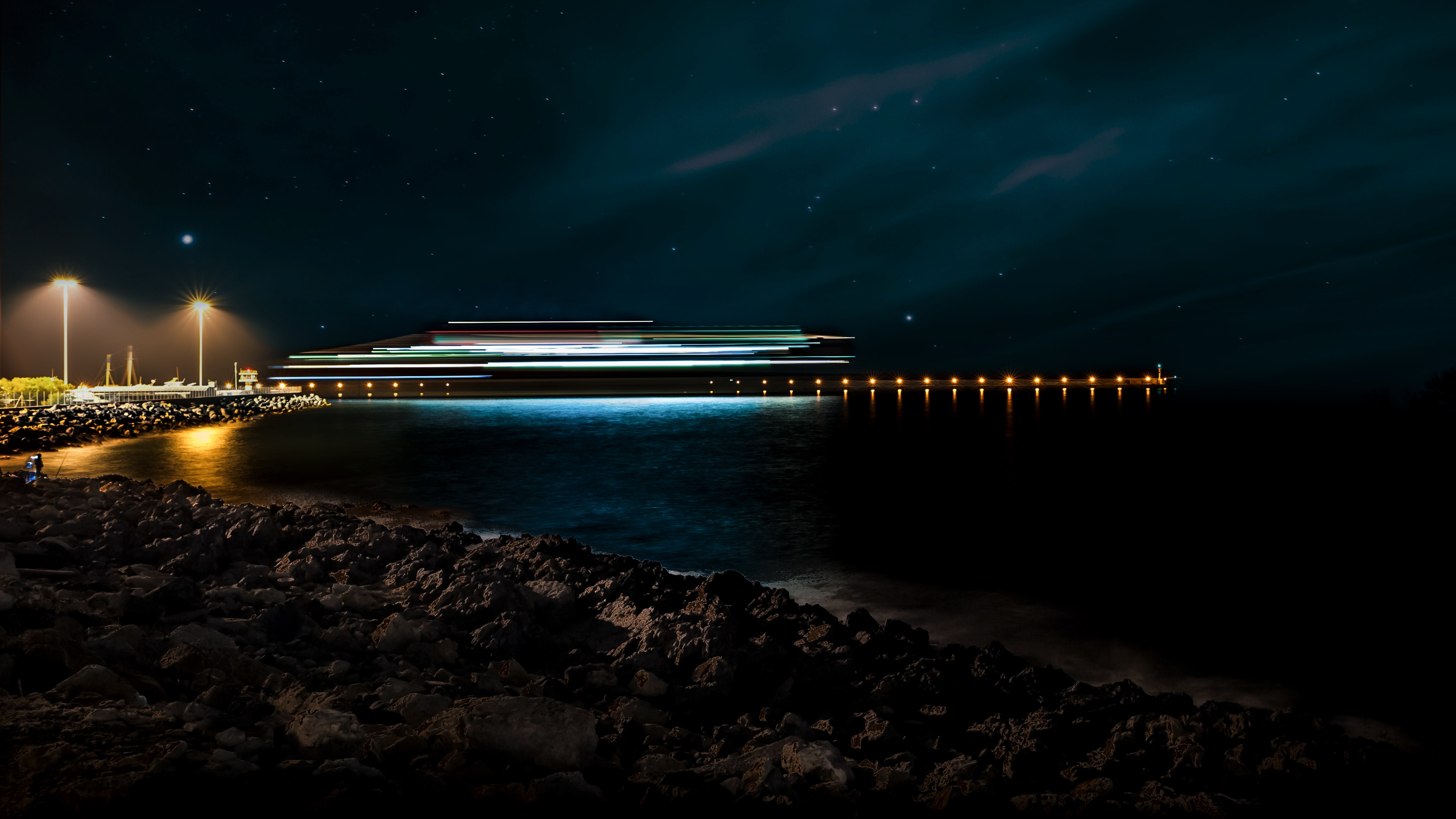 Panorama Photography of Beach Side, Beach, Night lights, Water, Time-lapse, HQ Photo