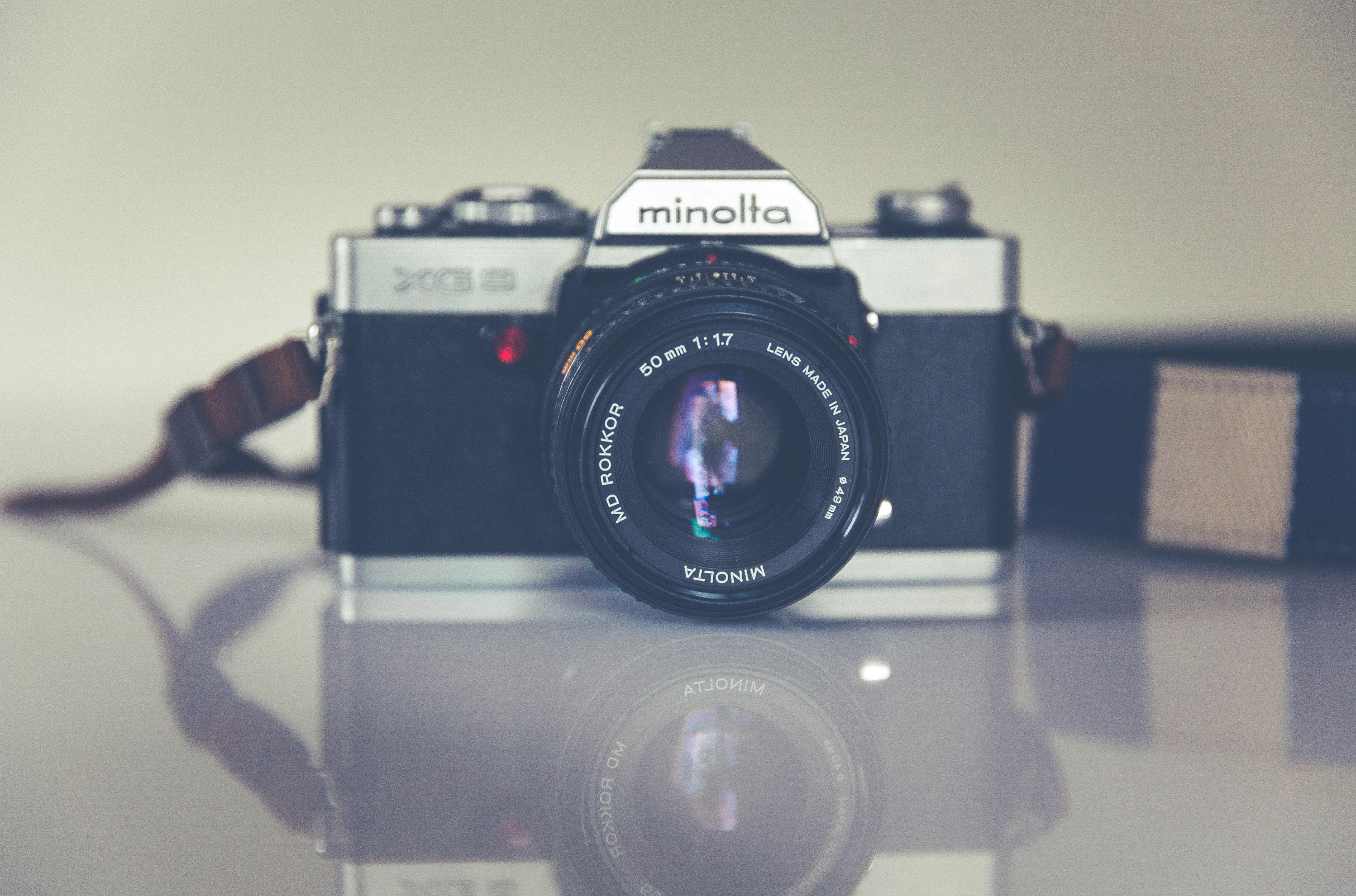 Panorama Photography of Black and Grey Minolta Camera, Analog, Optical, Vintage, Technology, HQ Photo