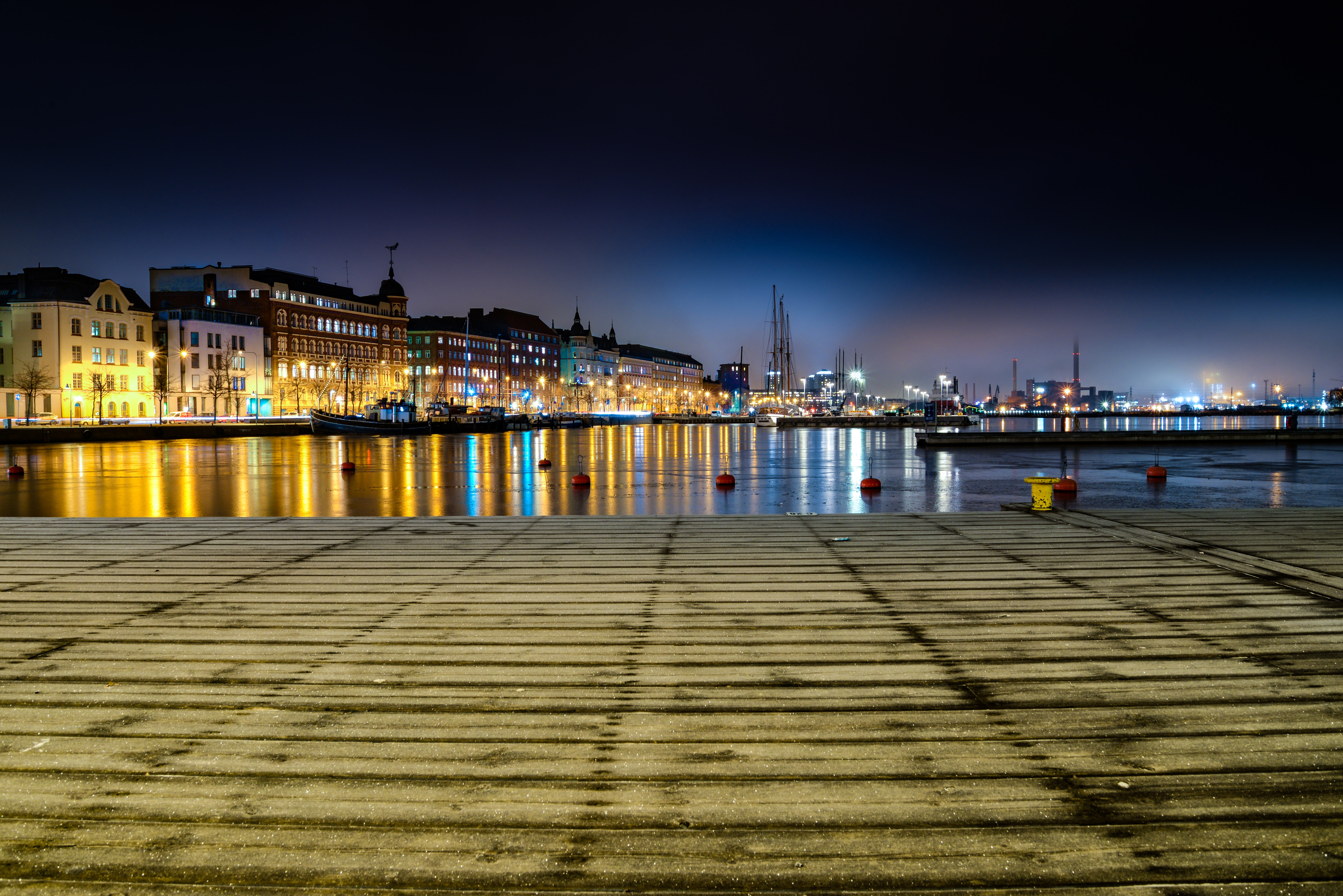 Panoramic Photo of City Buildings during Night Time, Architecture, Night, Water, Urban, HQ Photo