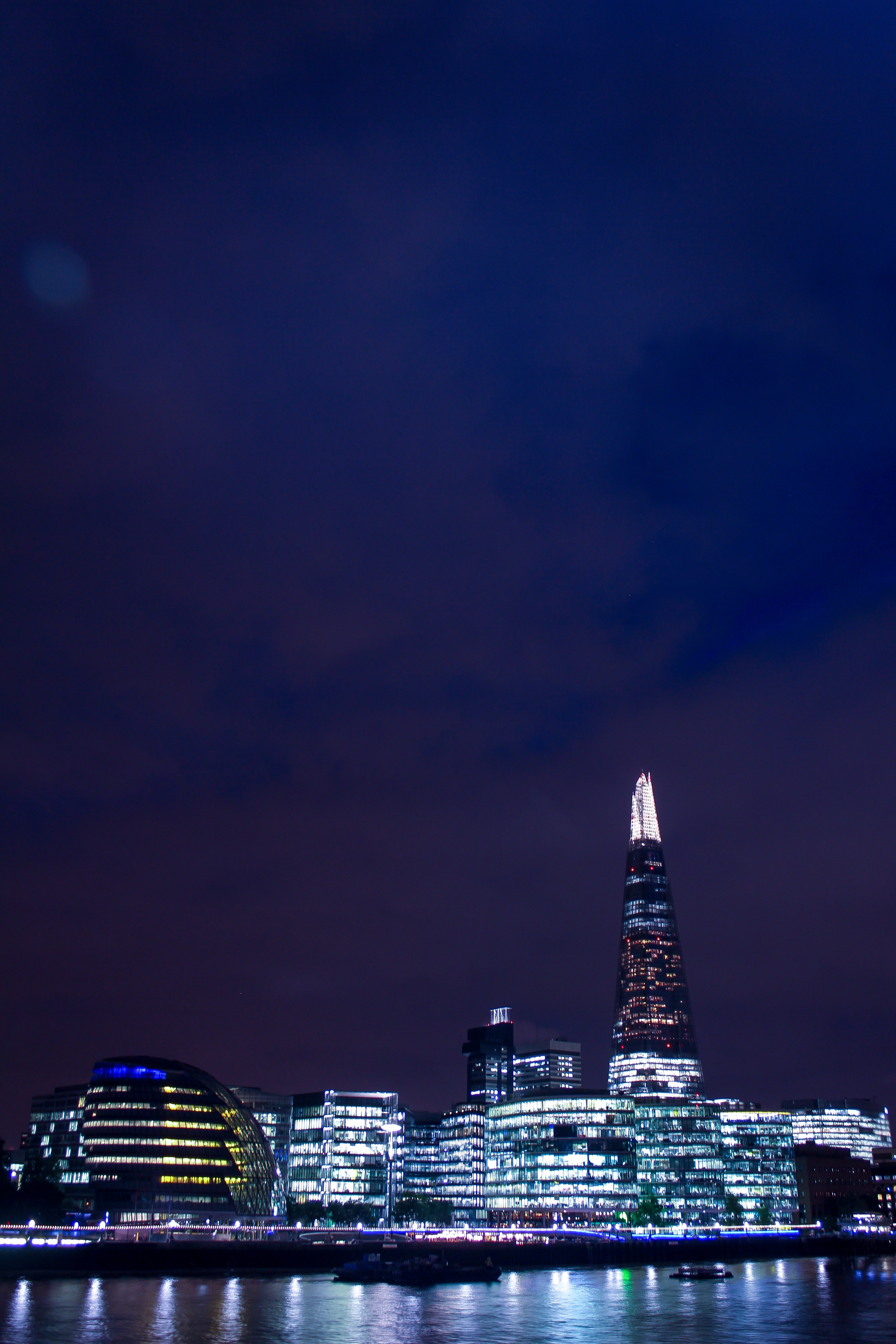 Panoramic Photo of City Buildings during Nighttime, Architecture, Water, Urban, Tower, HQ Photo