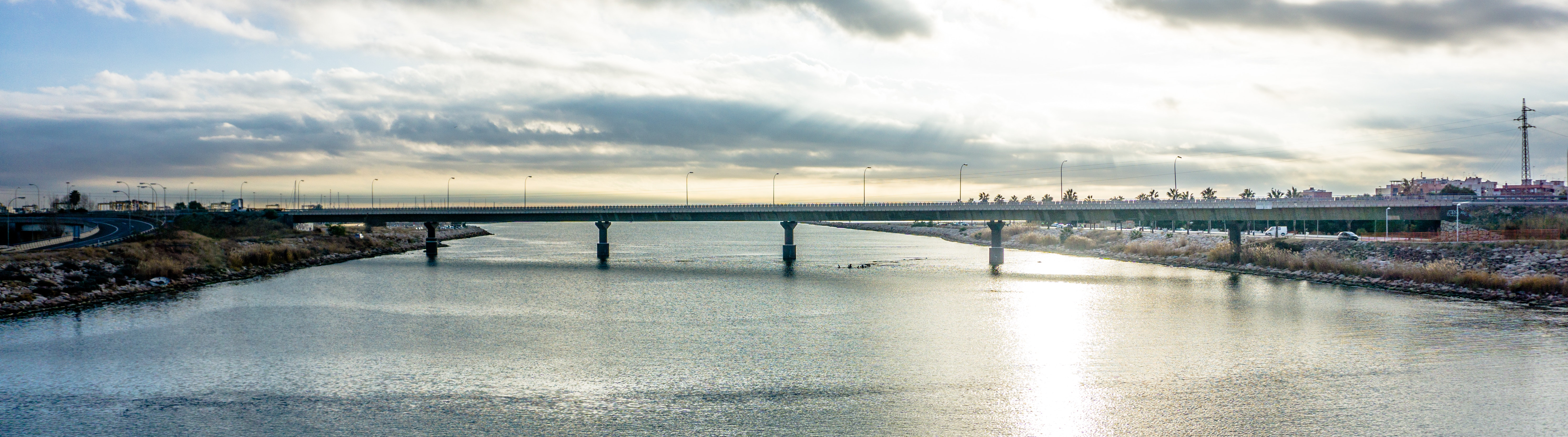Panoramic Photography of Bridge Under Cloudy Sky, Bay, Reflection, Sunlight, Sea, HQ Photo