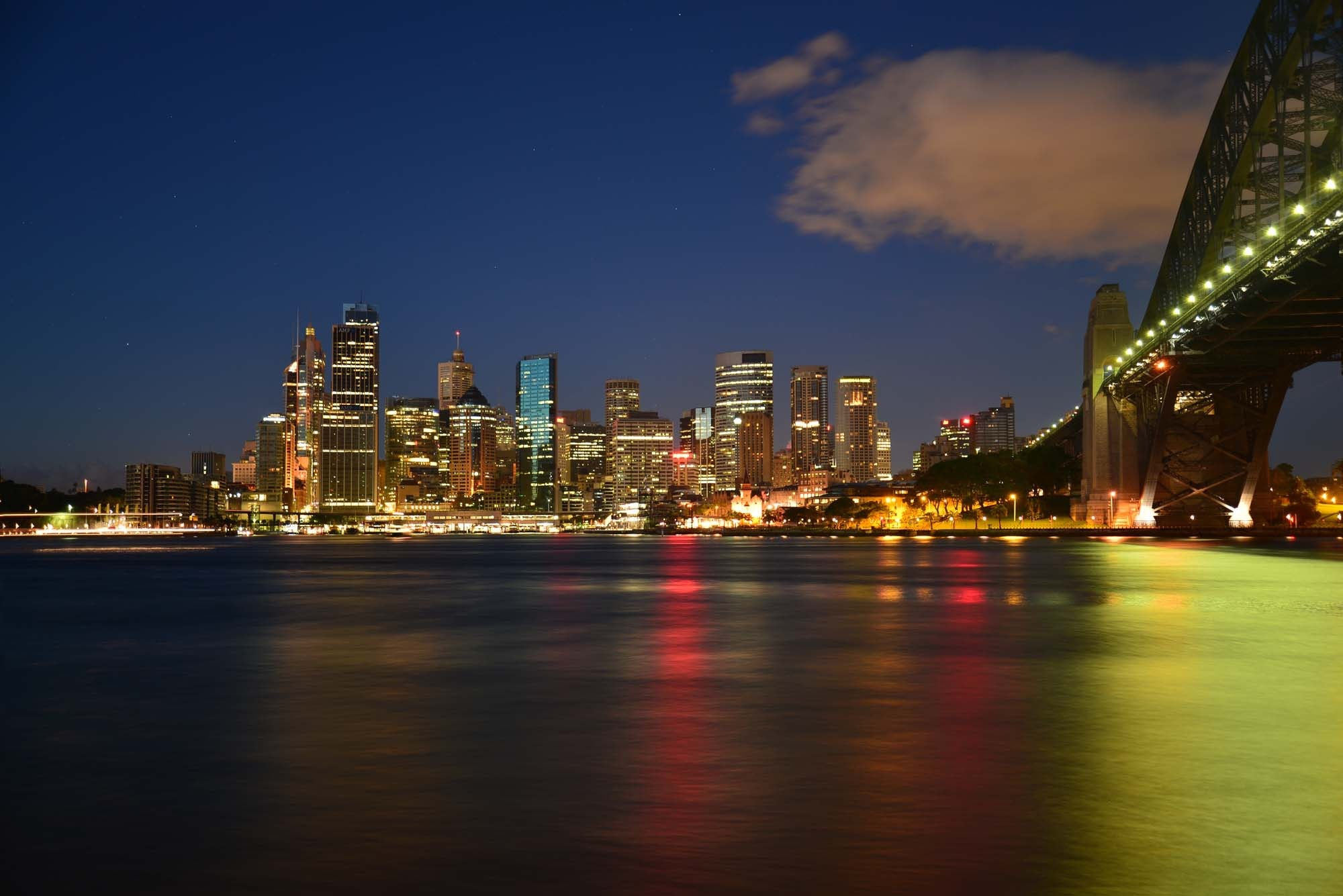 Panoramic Photography of Metropolis Next to Bridge during Night Time, Australia, Reflection, Urban, Twilight, HQ Photo