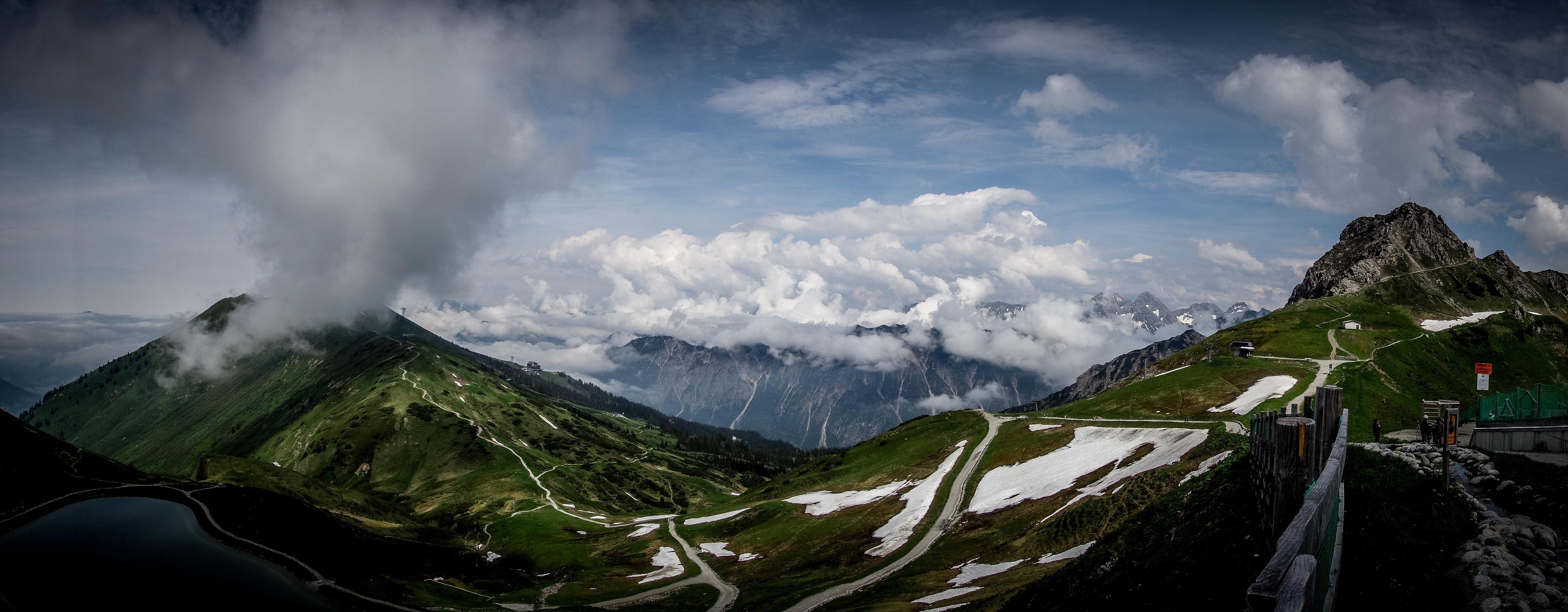 Panoramic view of mountain range photo
