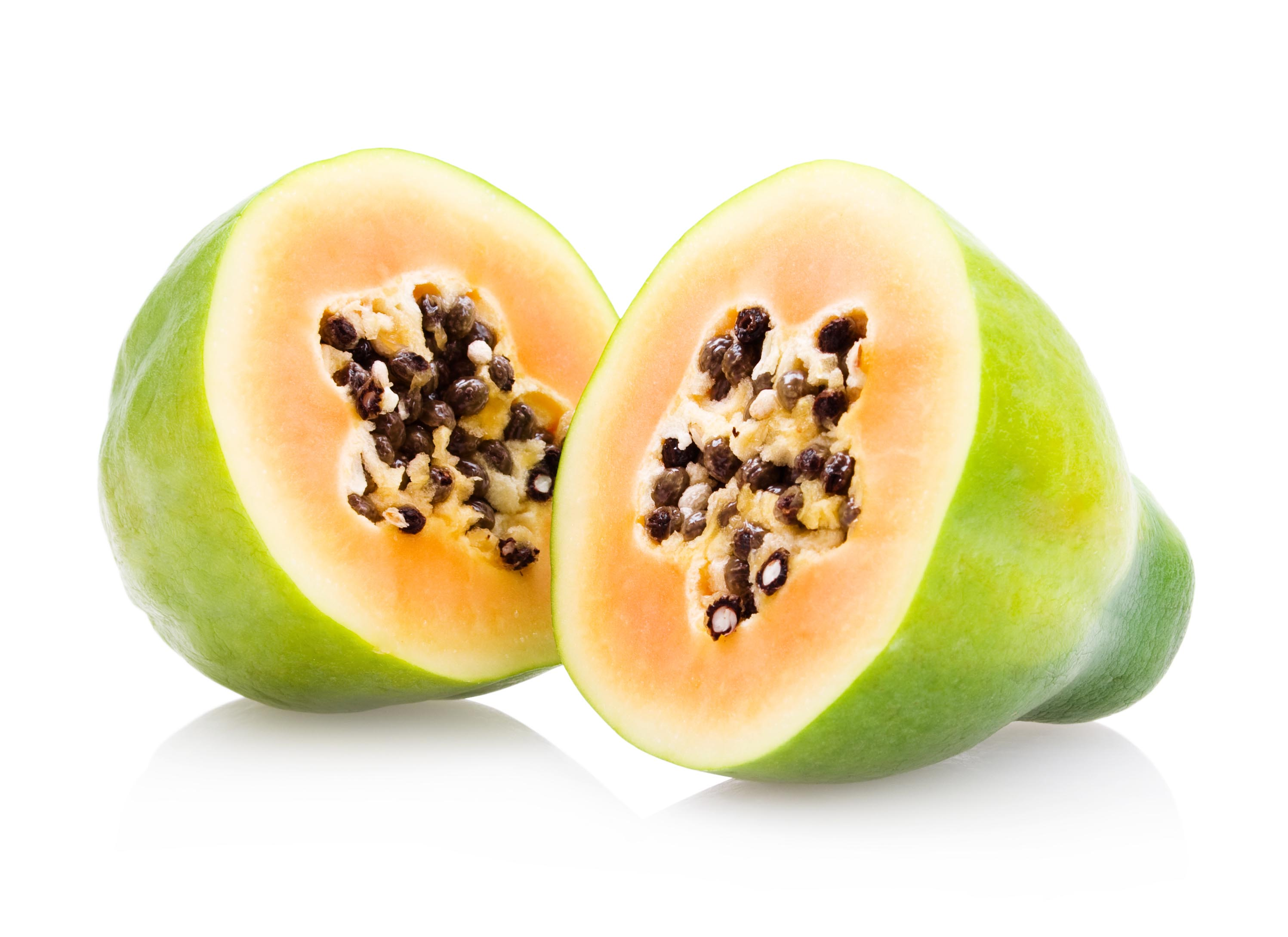 Papaya fruit cut in half photo