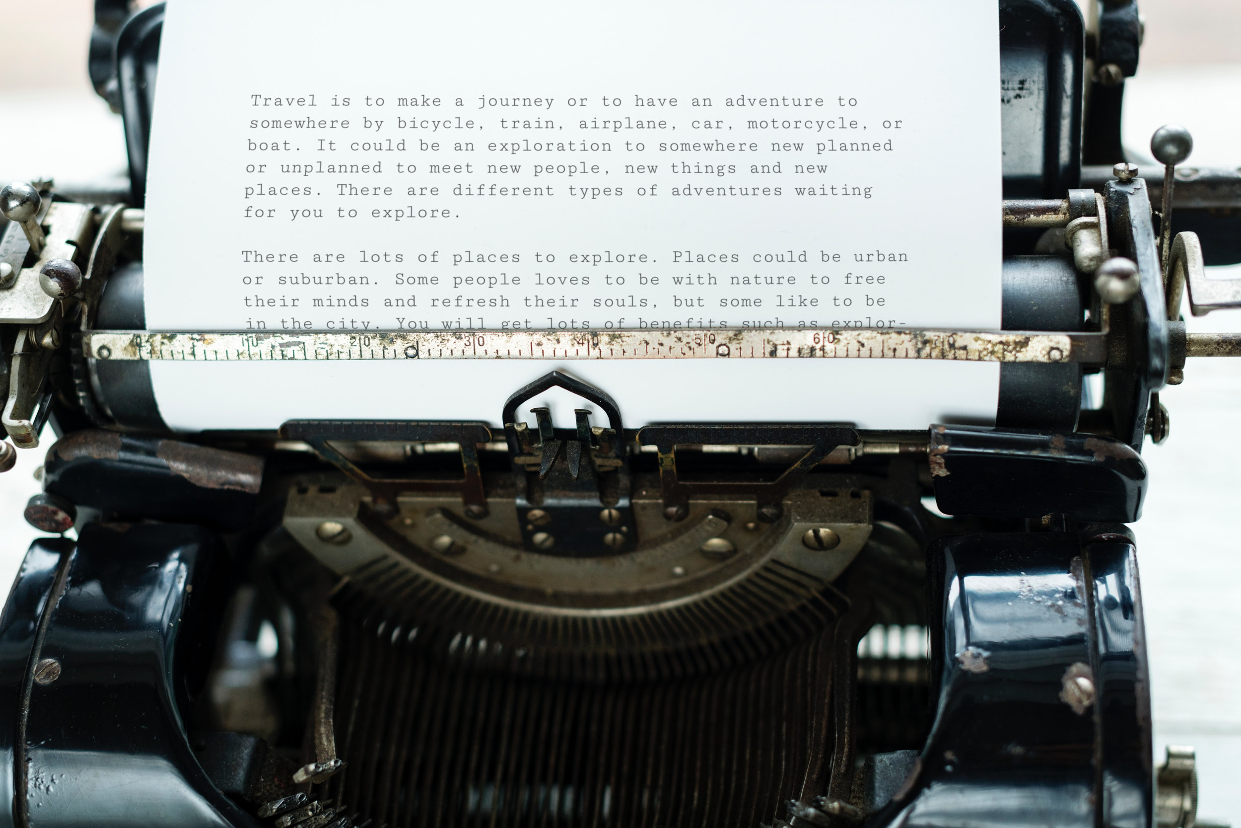 Paper attached to typewriter photo