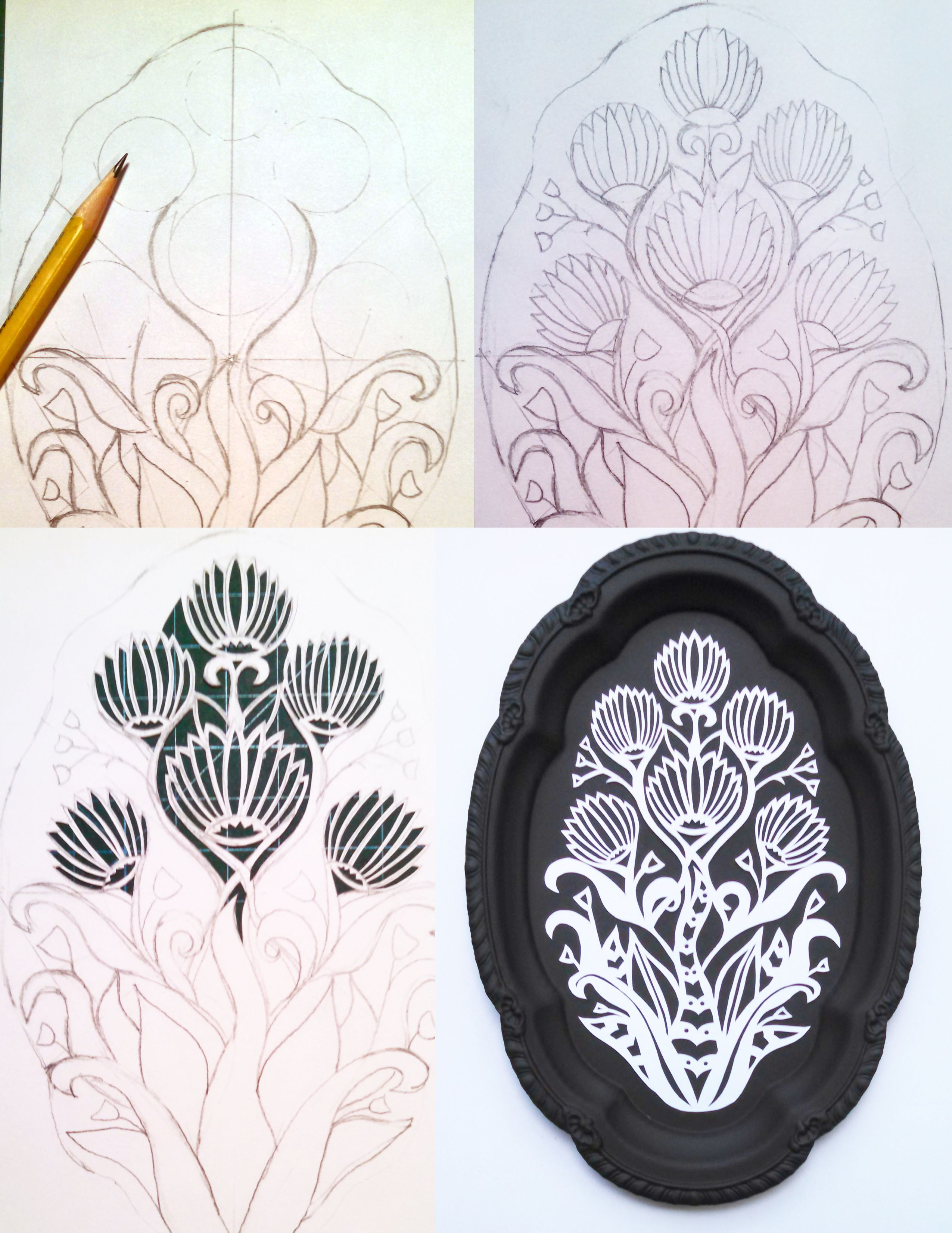 Behind the scenes: process of my latest papercut mounted to an up ...