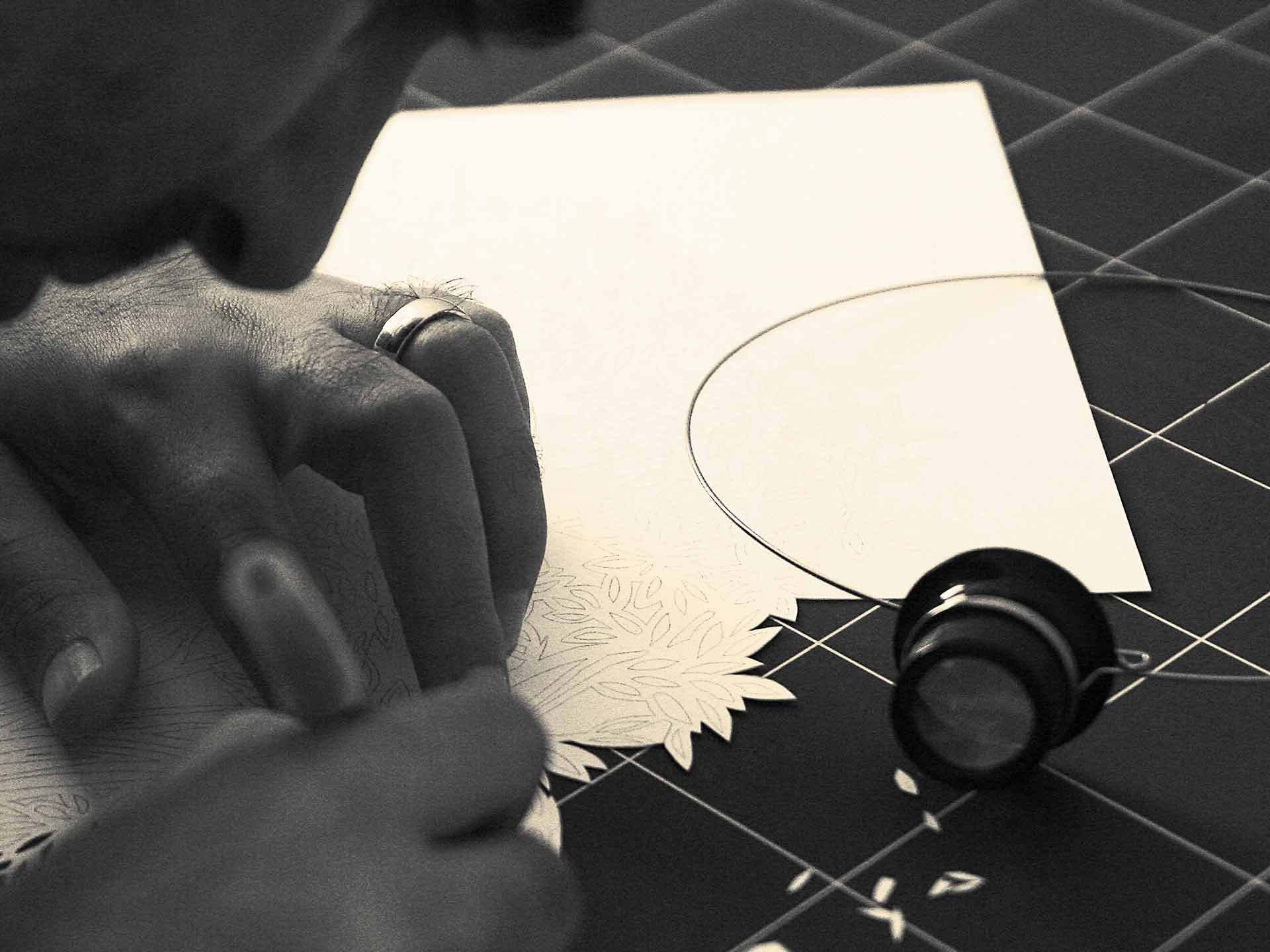 Paper Cutting Process - Ketubah By Oren