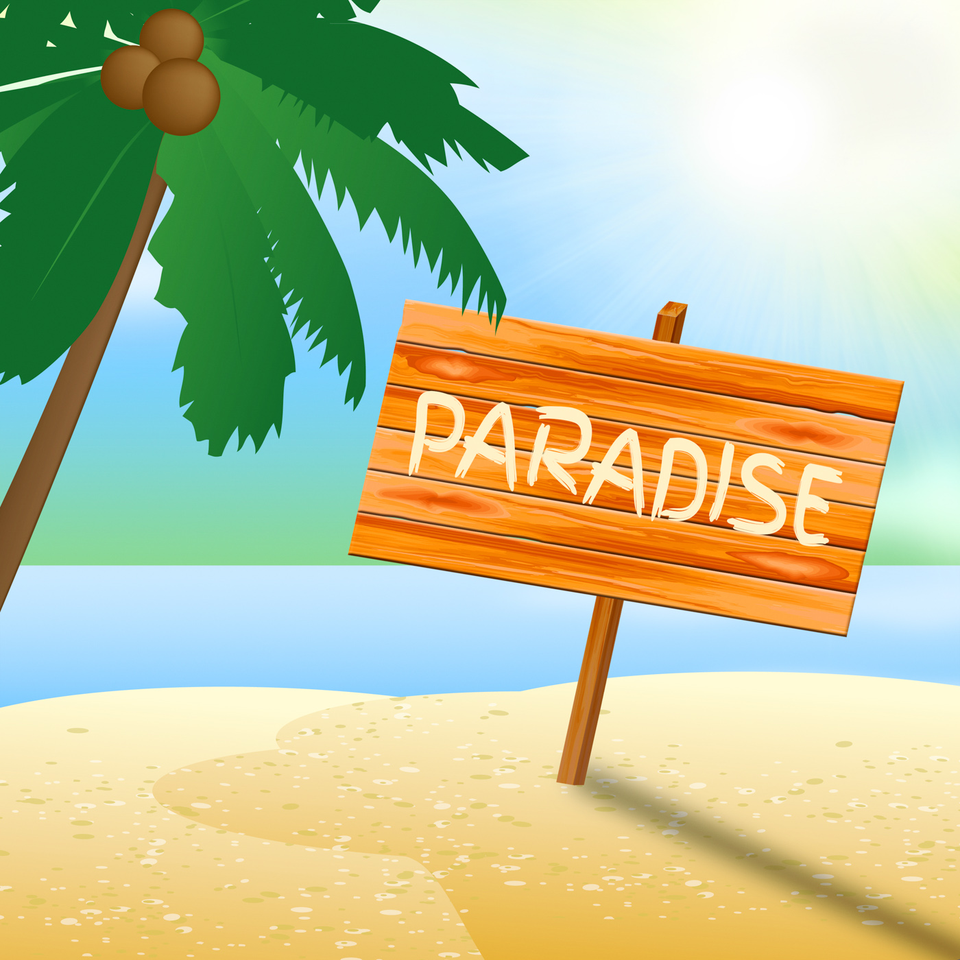 Paradise Vacation Shows Idyllic Beaches 3d Illustration, 3dIllustration, Idyllic, Vacation, Tropical, HQ Photo