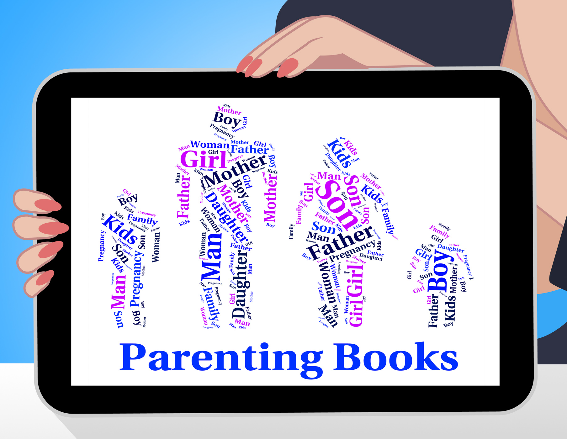 Parenting books indicates mother and child and father photo