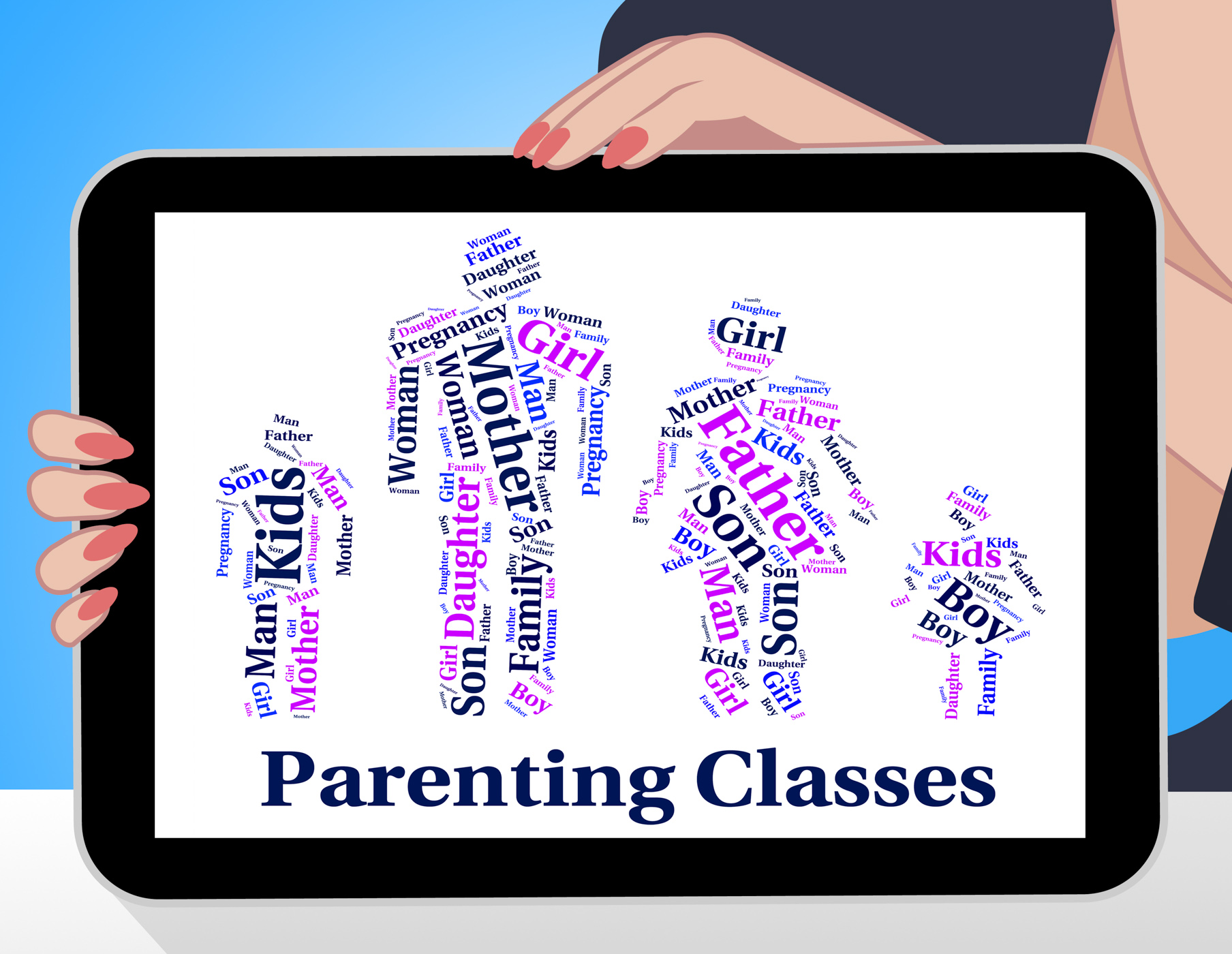 Parenting Classes Means Mother And Baby And Child, Child, Offspring, Wordcloud, Word, HQ Photo