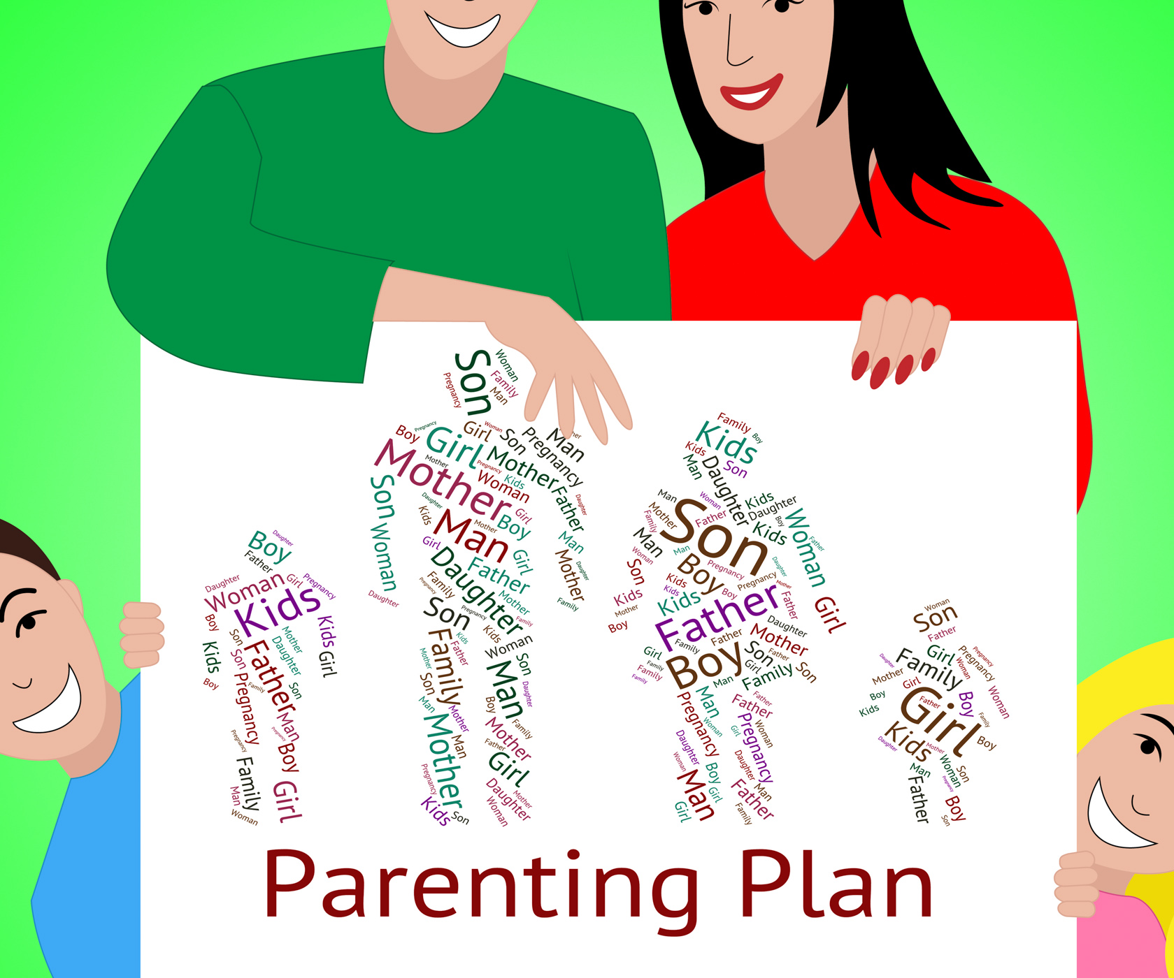 Parenting Plan Represents Mother And Child And Childhood, Agenda, Proposal, Wordcloud, Word, HQ Photo