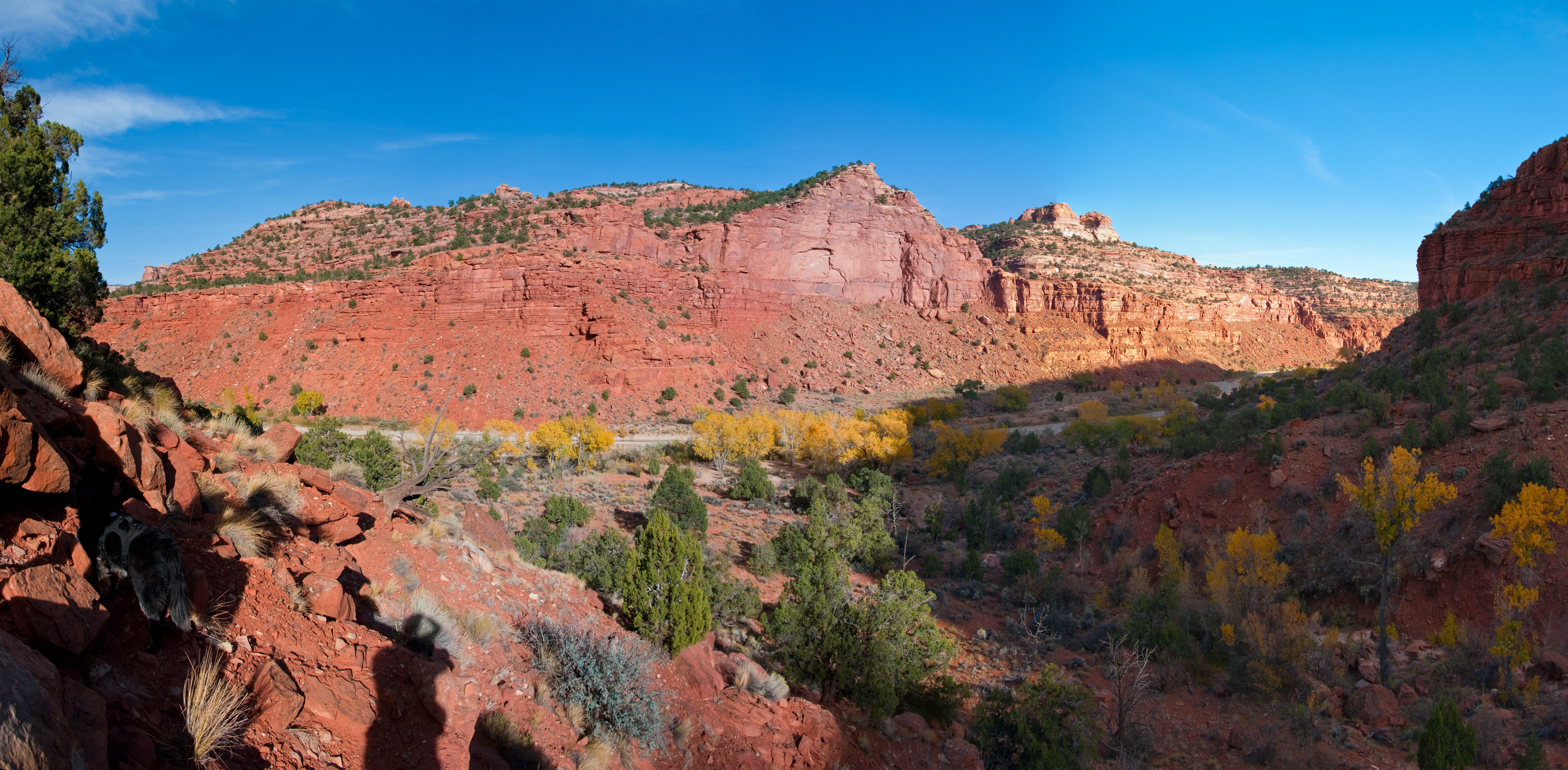 Paria River (panorama), Autumn, Backpacking, Canyon, Desert, HQ Photo