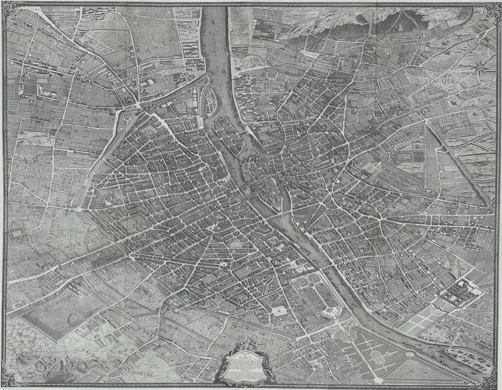 Paris Map, Blueprint, Map, Object, Old, HQ Photo