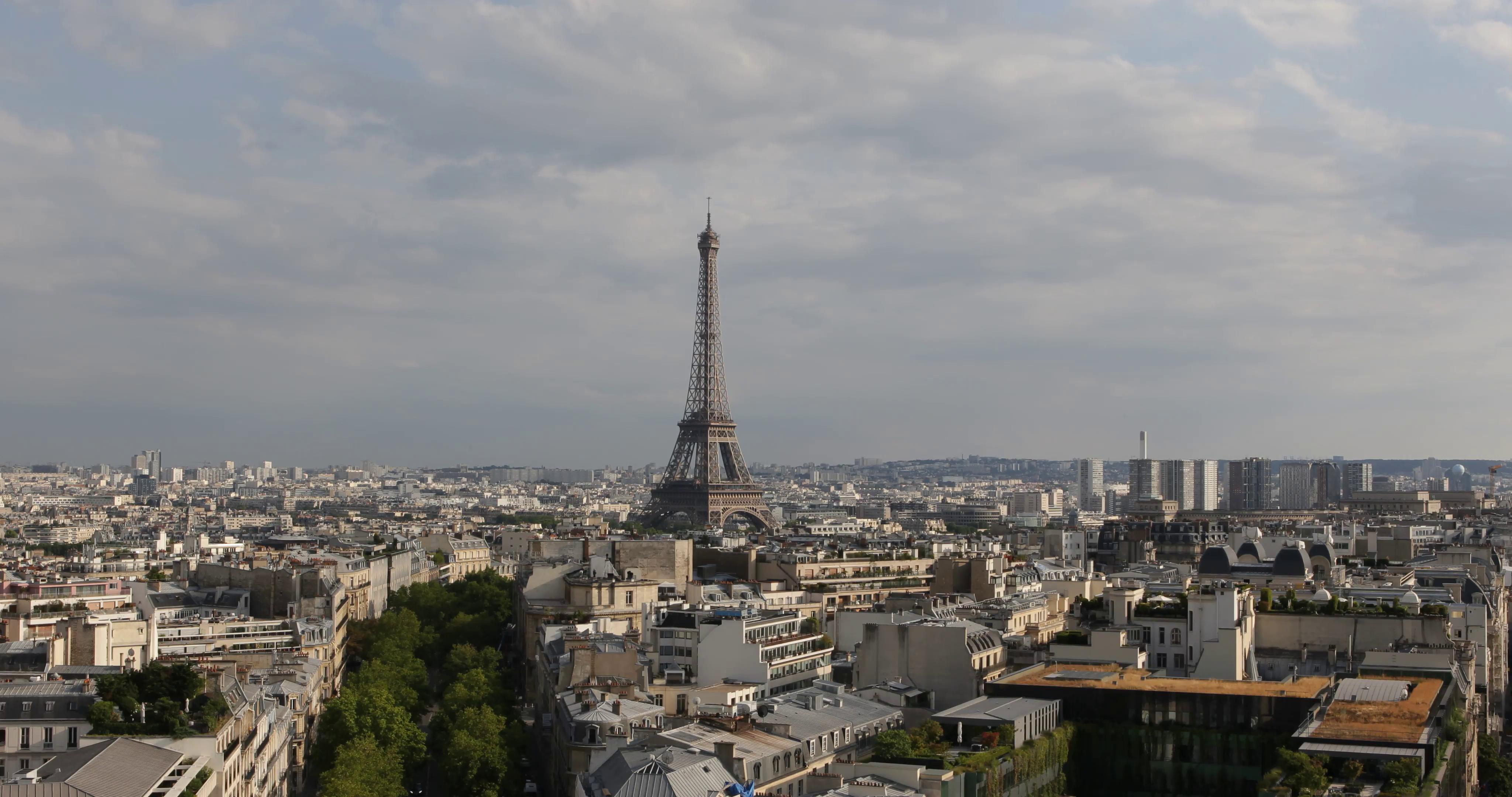 Ultra HD 4K Aerial View Eiffel Tower Paris Skyline City Overlook ...