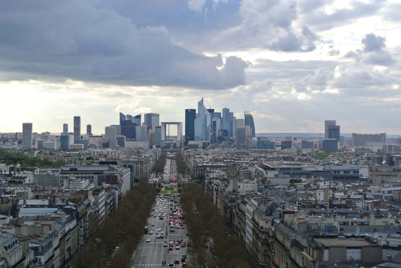 Paris Skyline view on top of Arc de Triomphe in Paris, France (La ...