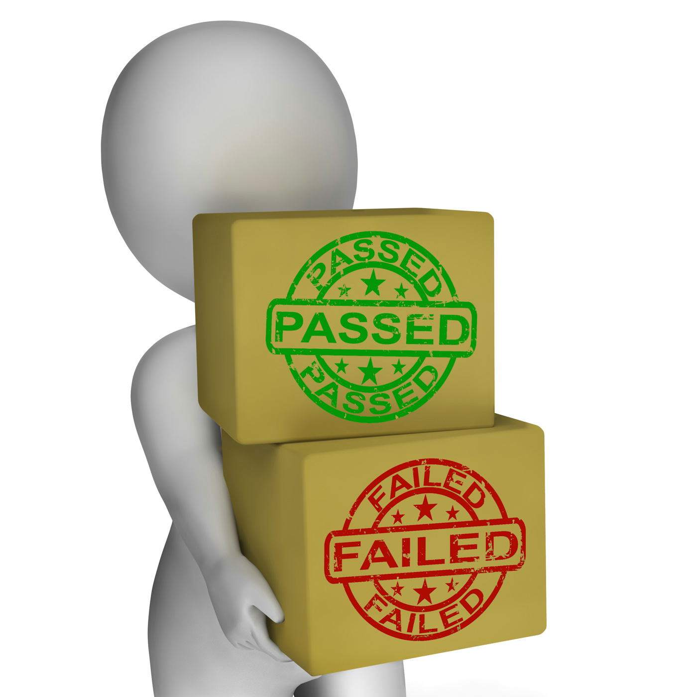 Passed and failed boxes mean product testing or validation photo