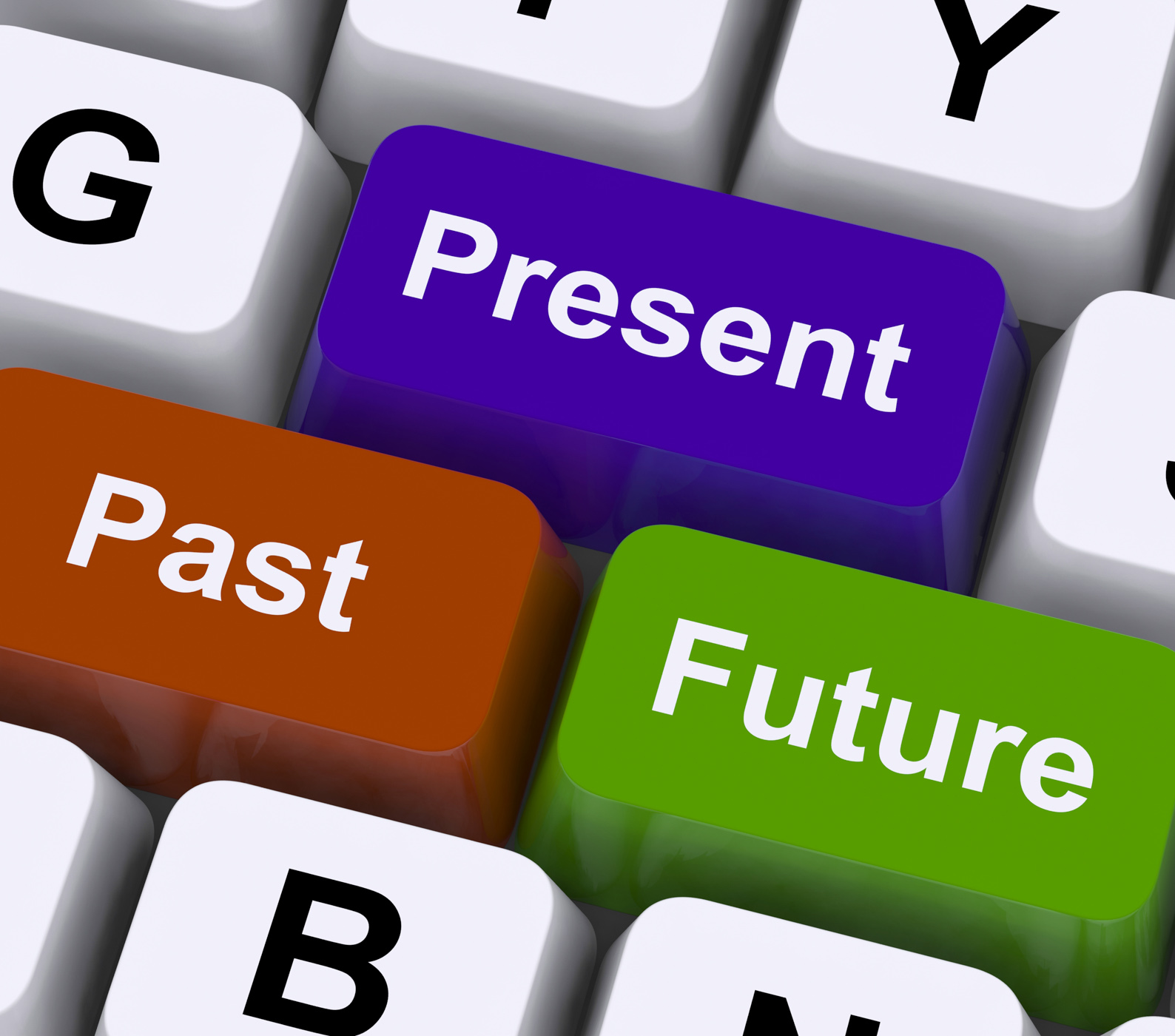 Past present and future keys show evolution or aging photo
