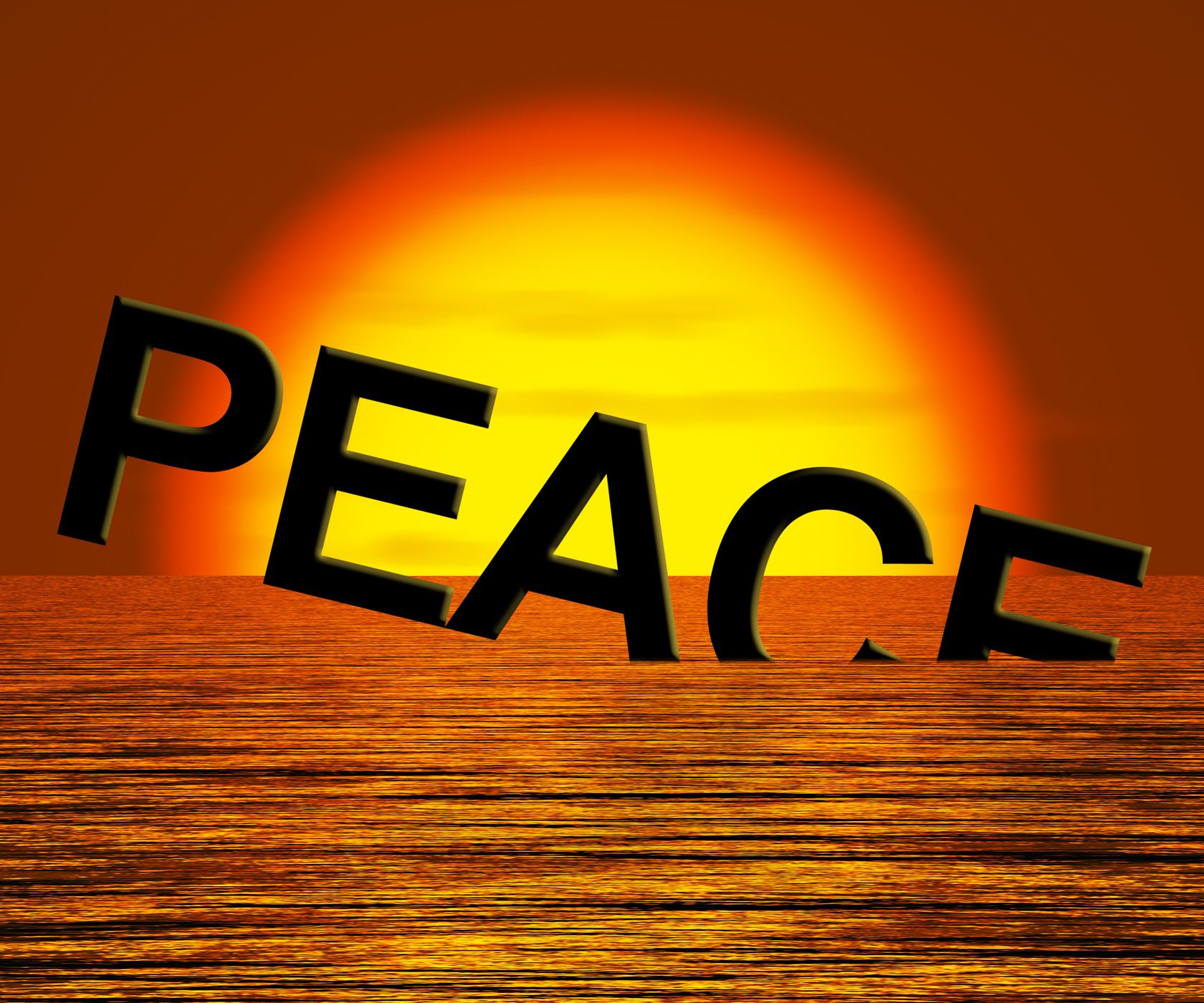 Peace word sinking showing war and conflict photo
