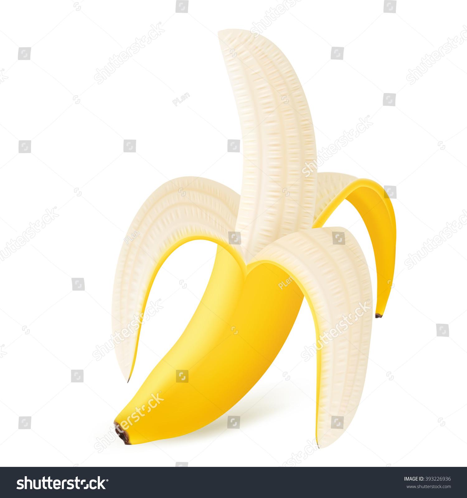 Peeled Banana Isolated On White Background Stock Vector 393226936 ...