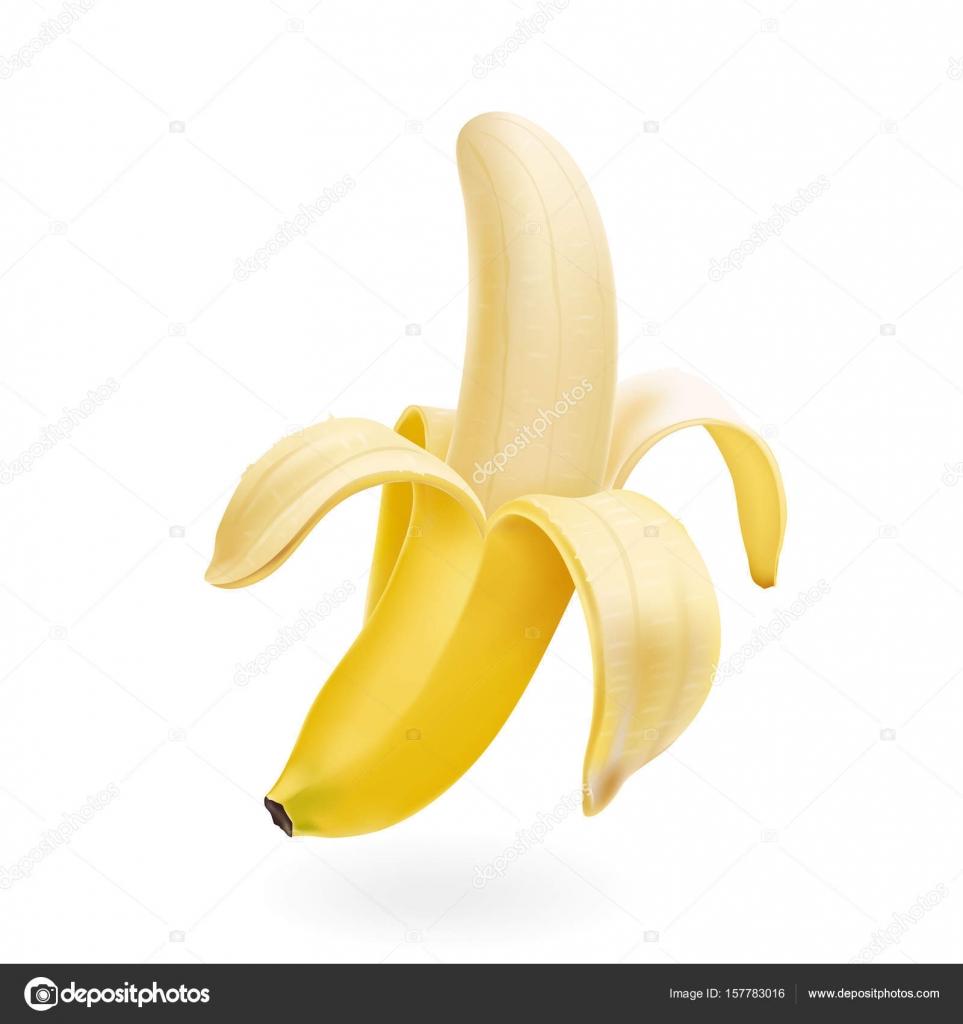 Vector half peeled Banana isolated realistic illustration — Stock ...