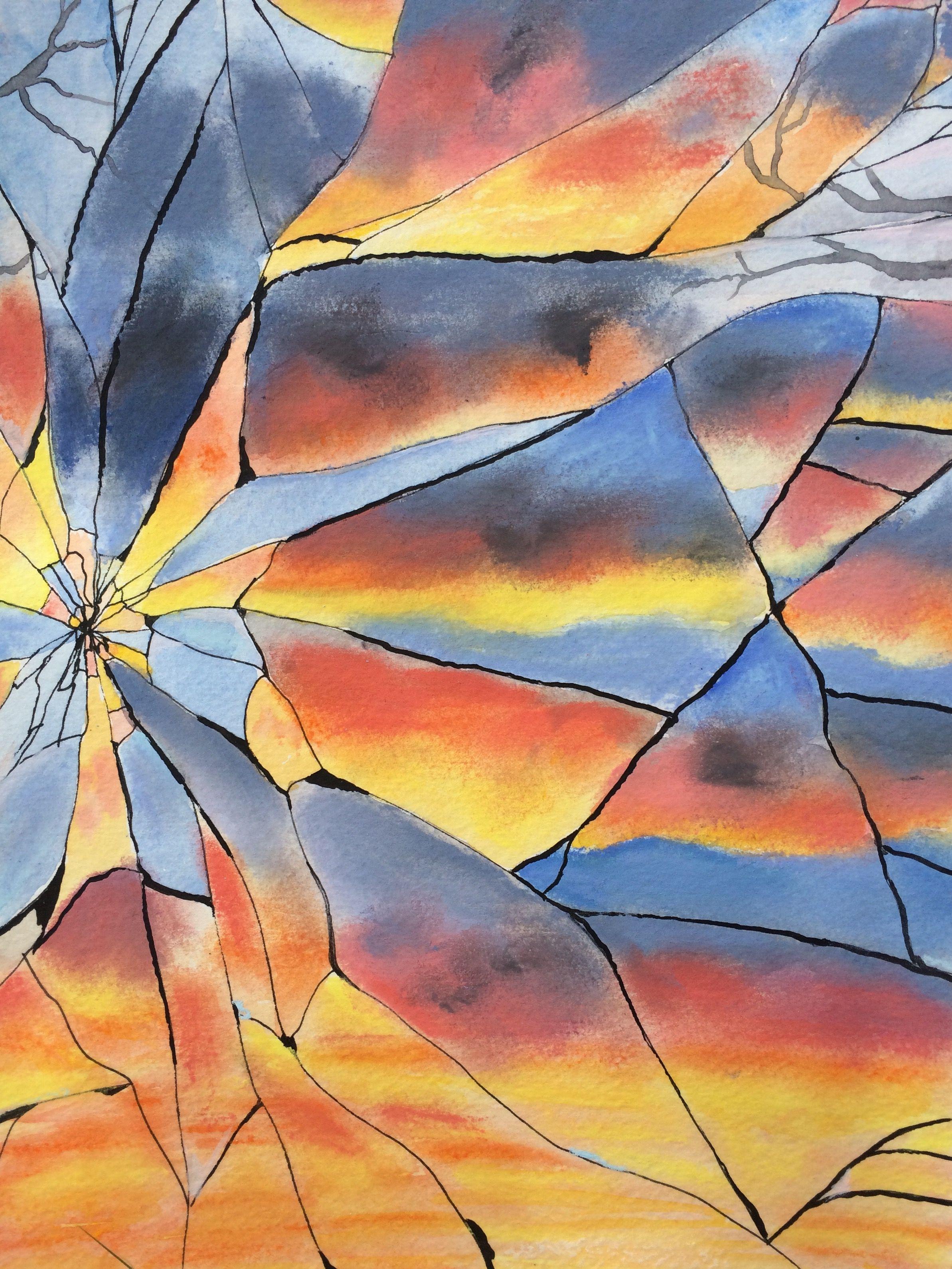 Broken mirror sunset | Draw This WARM UPS | Pinterest | Broken ...