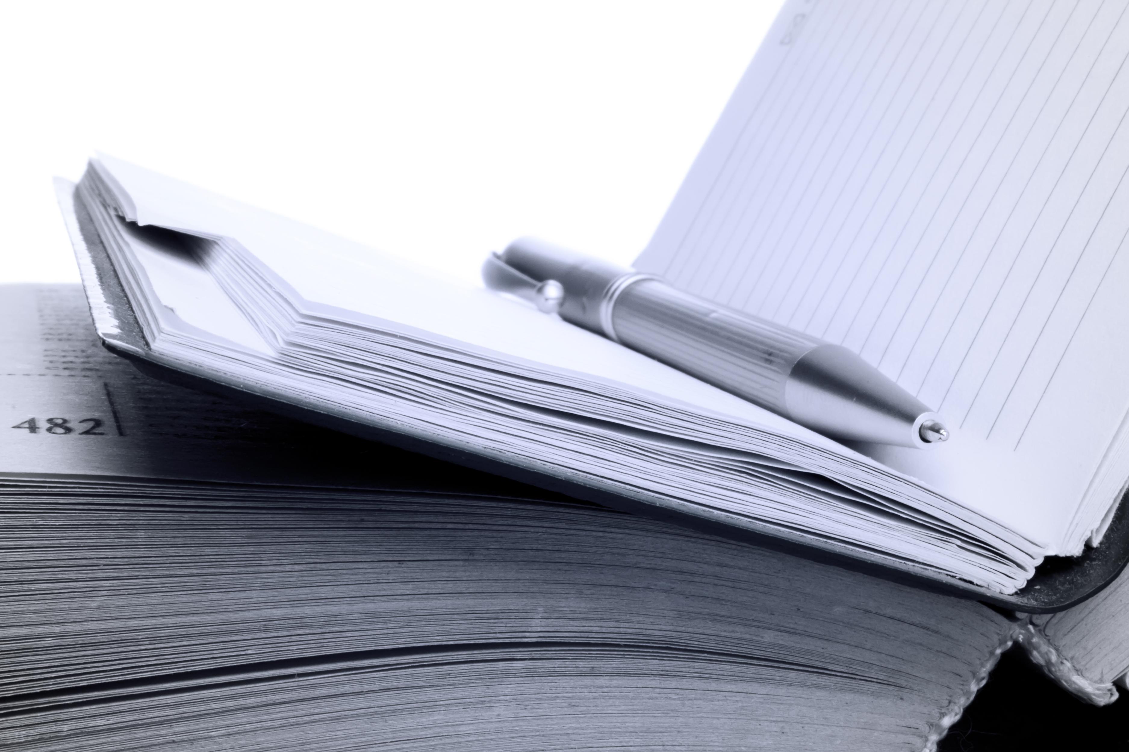 Pen on notebook, Blue, Book, Close-up, Closeup, HQ Photo