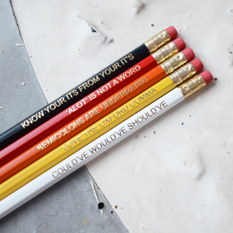 RED GRAMMAR PENCILS Set Ombre Coloured Pencil Gift School