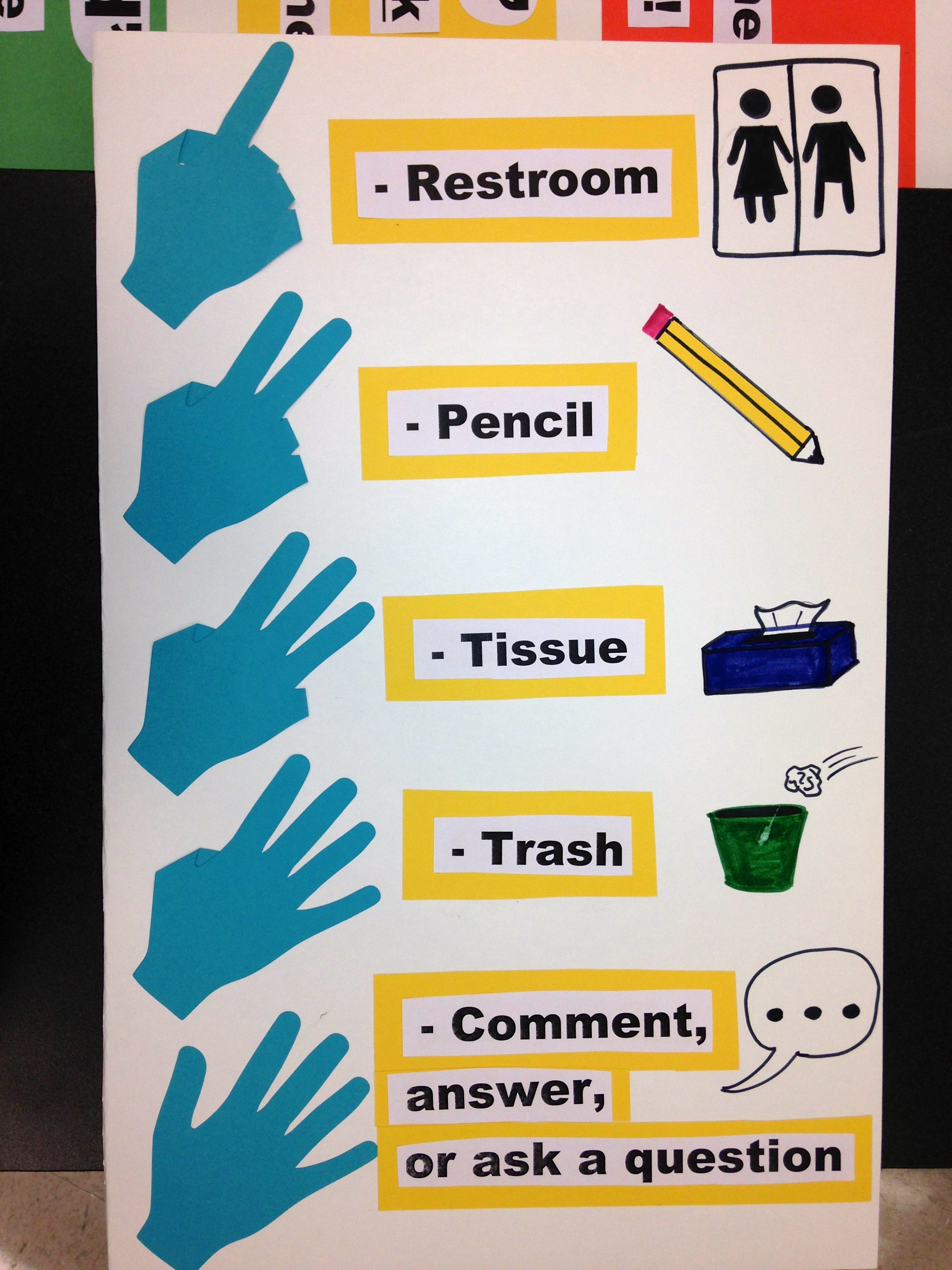 Hand signals for the classroom. Students can hold up a certain ...