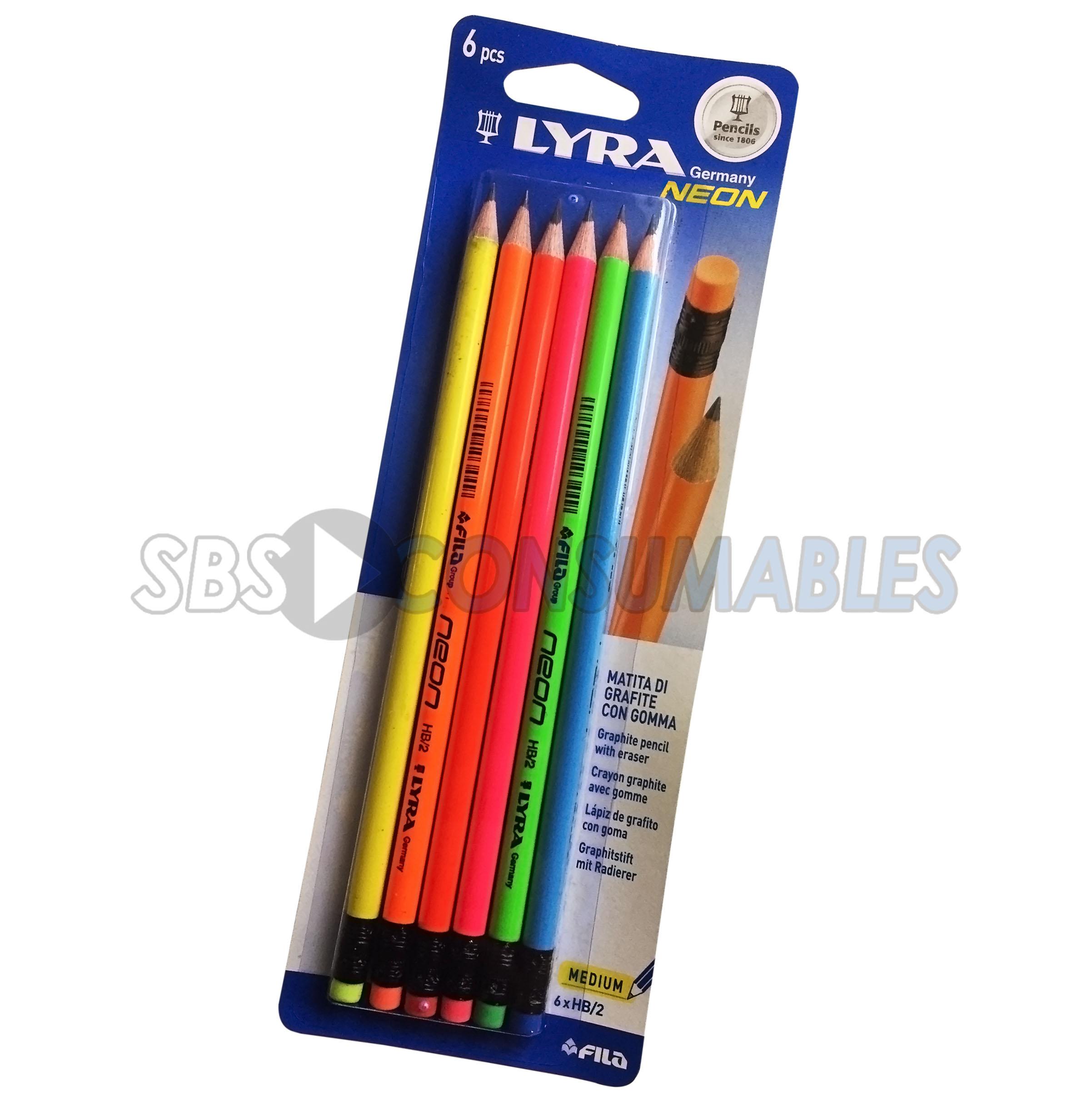 6x HB/2 Writing Pencils. Neon Bodies. | Office Supplies UK