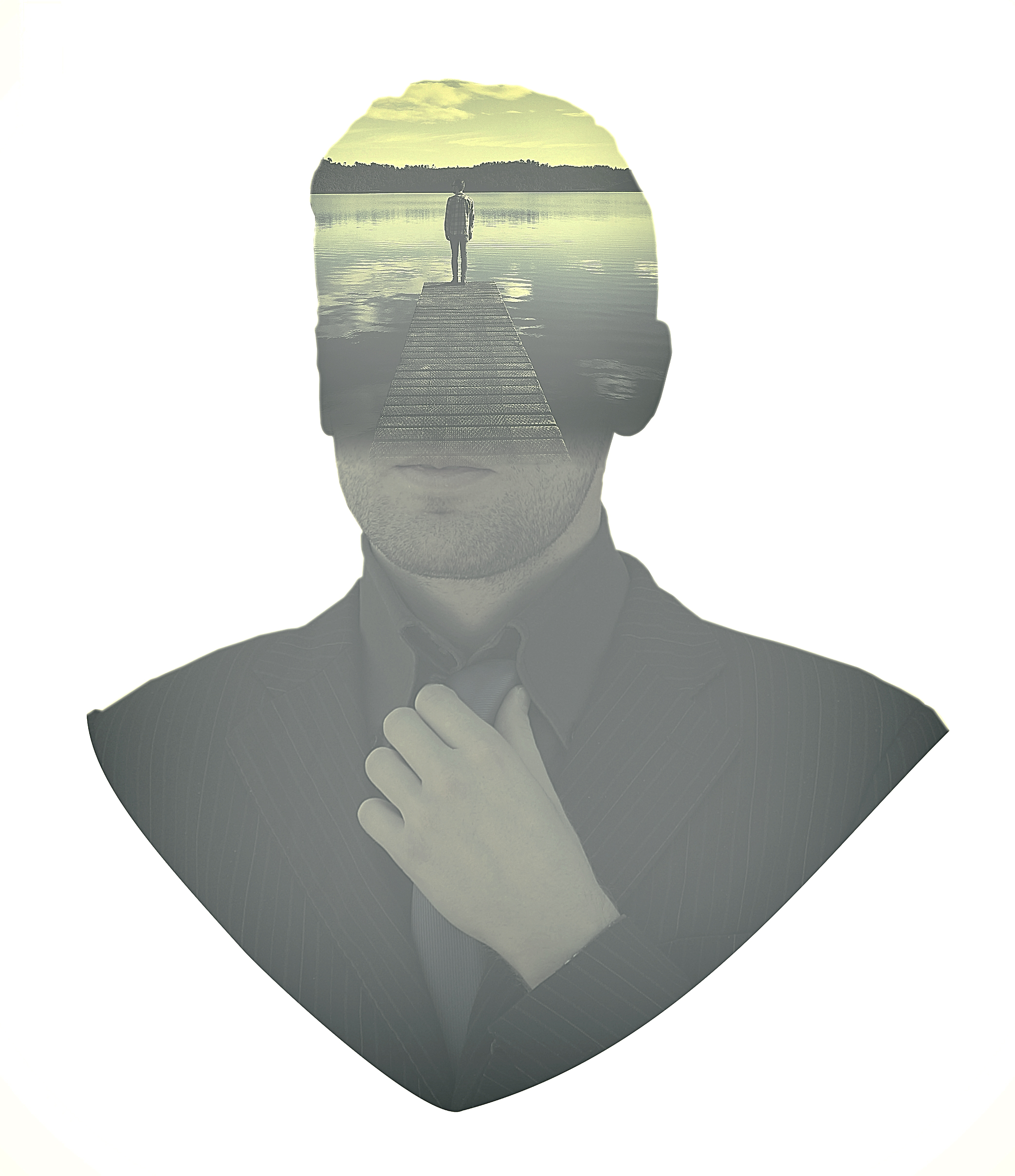People - Businessman Aspirations - Double Exposure Effect, African, Planning, Smirking, Skyline, HQ Photo