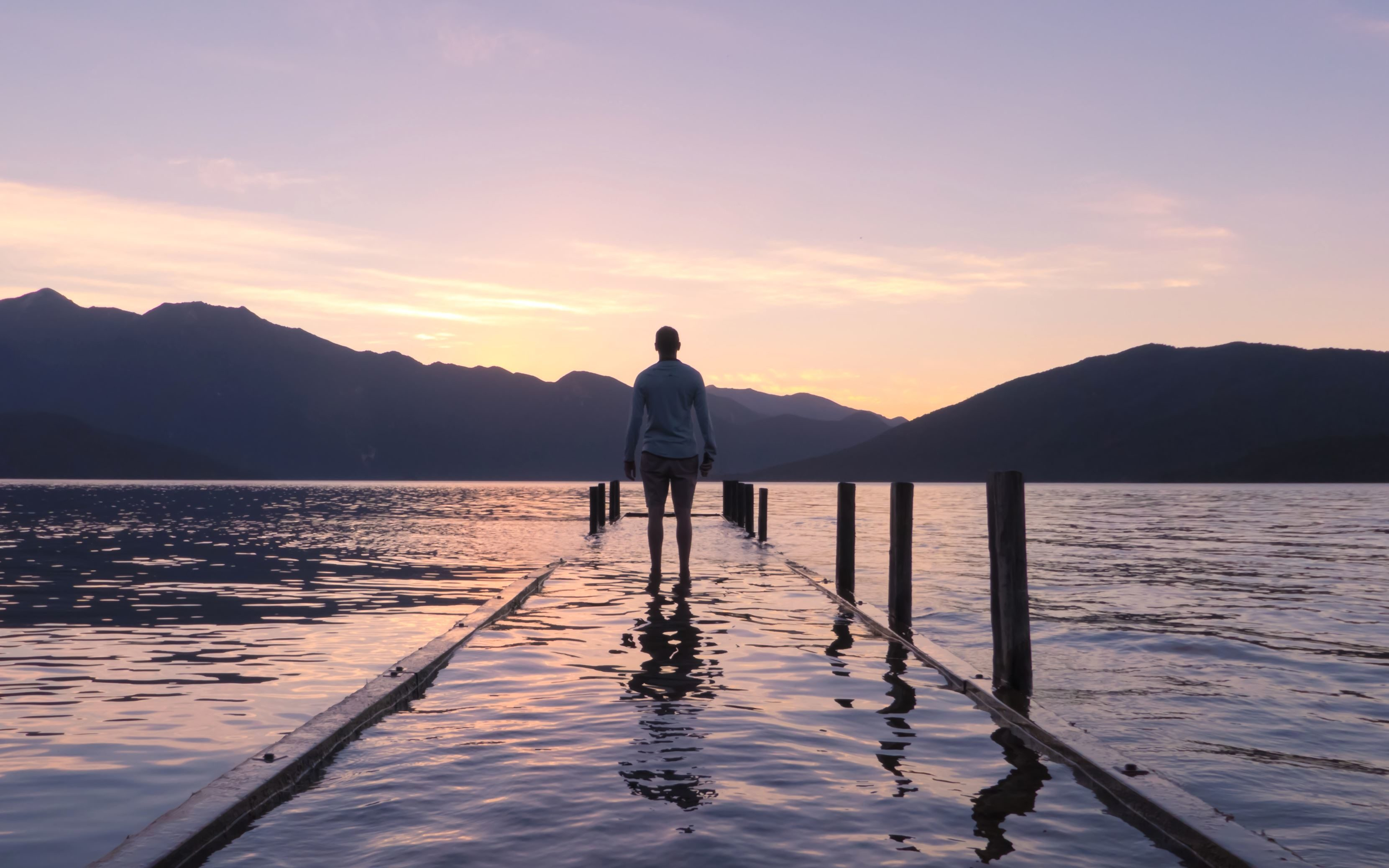 Free picture: person, dock, nature, sky, walkway, beach, dusk ...