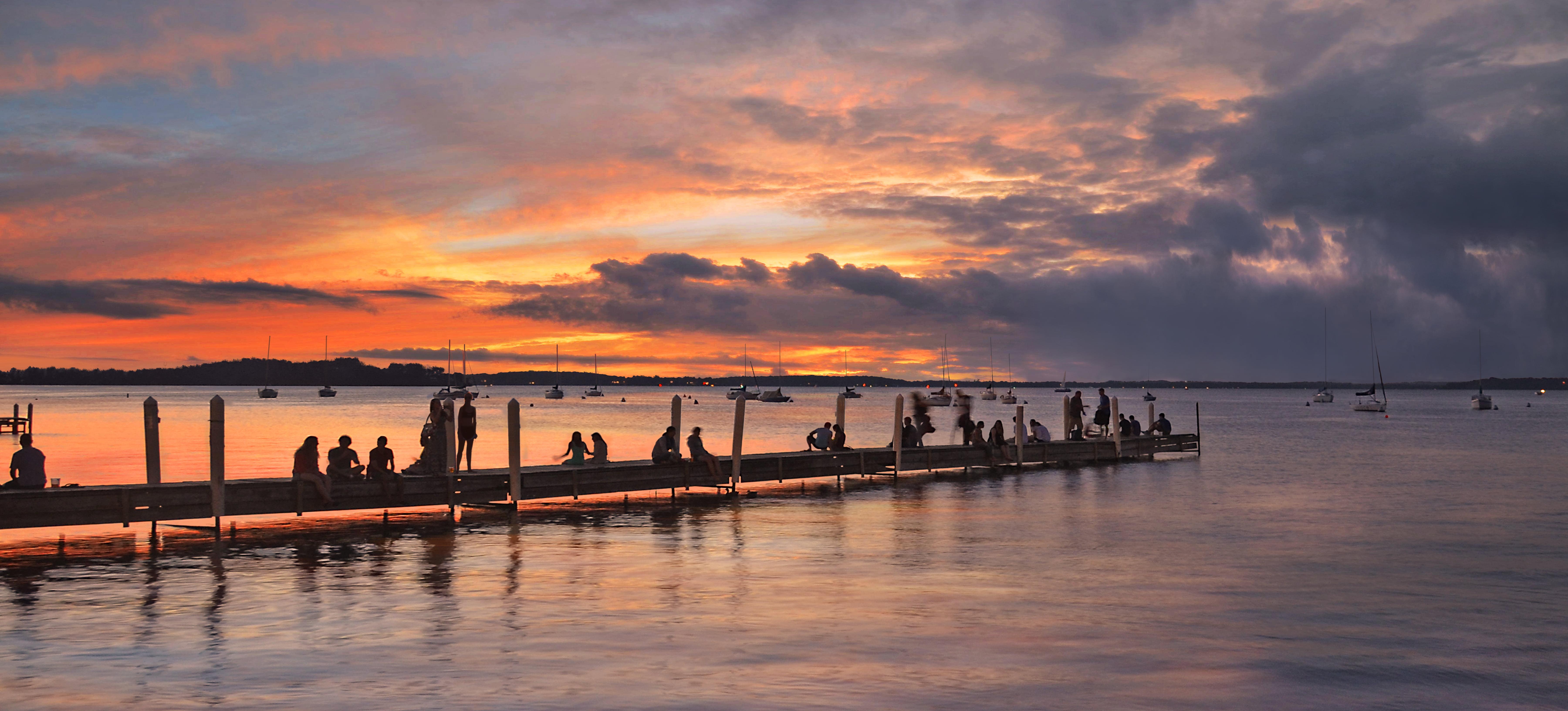 Silhouette of people on dock during dawn, lake mendota HD wallpaper ...