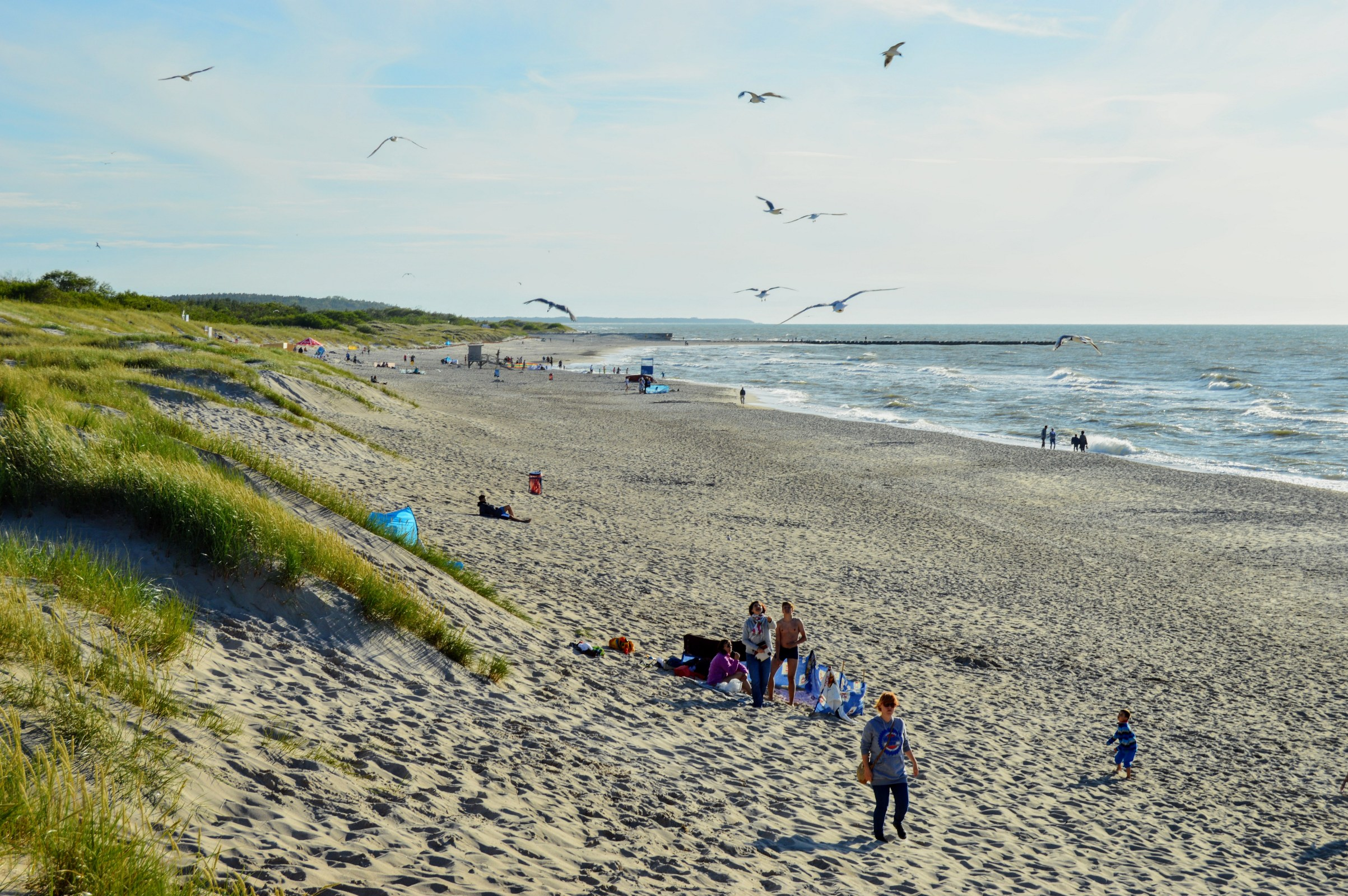 People relax on the beach near the sand dunes photo