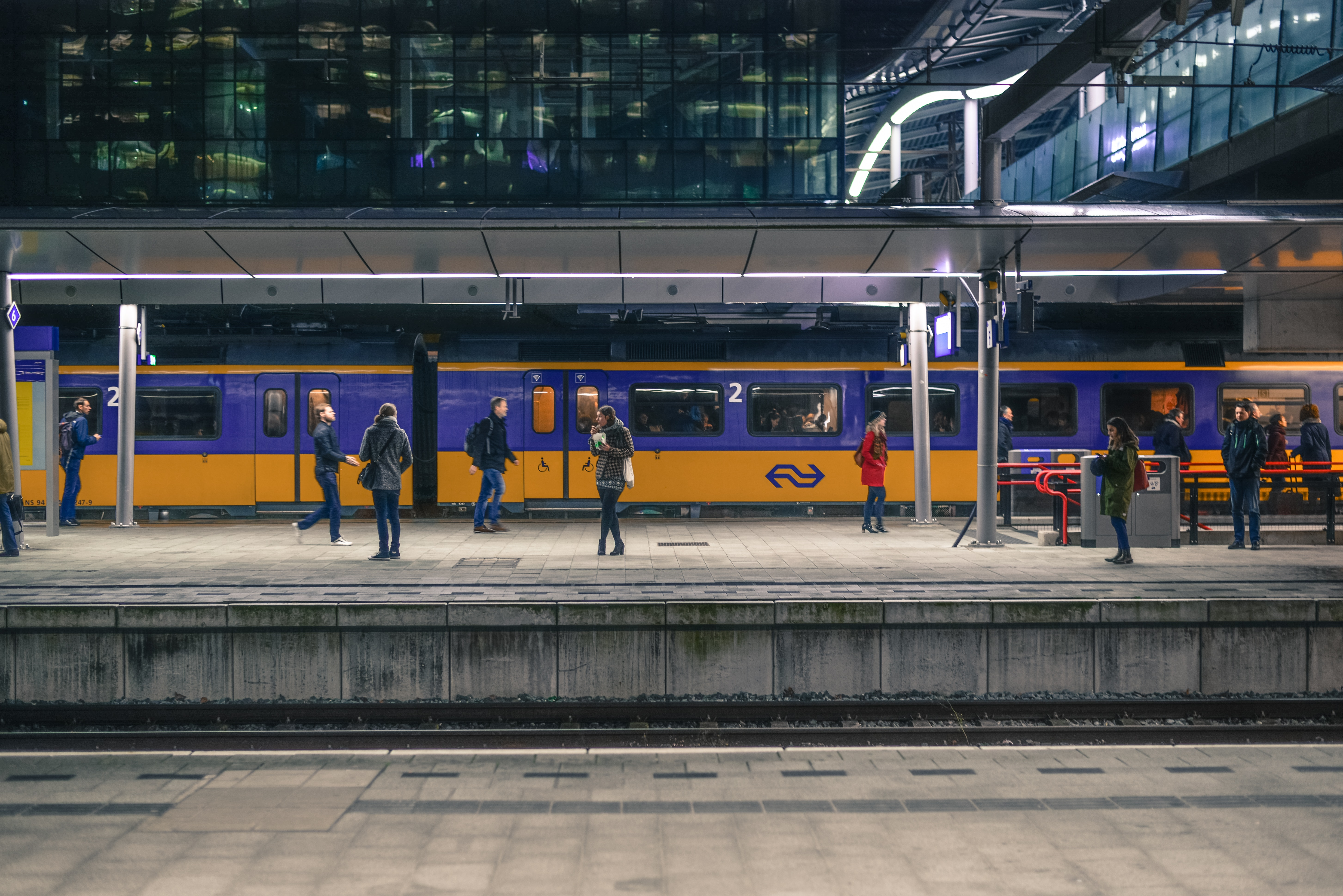 People Standing Near Train Under Shed, Building, Tracks, Railway station, Reflections, HQ Photo