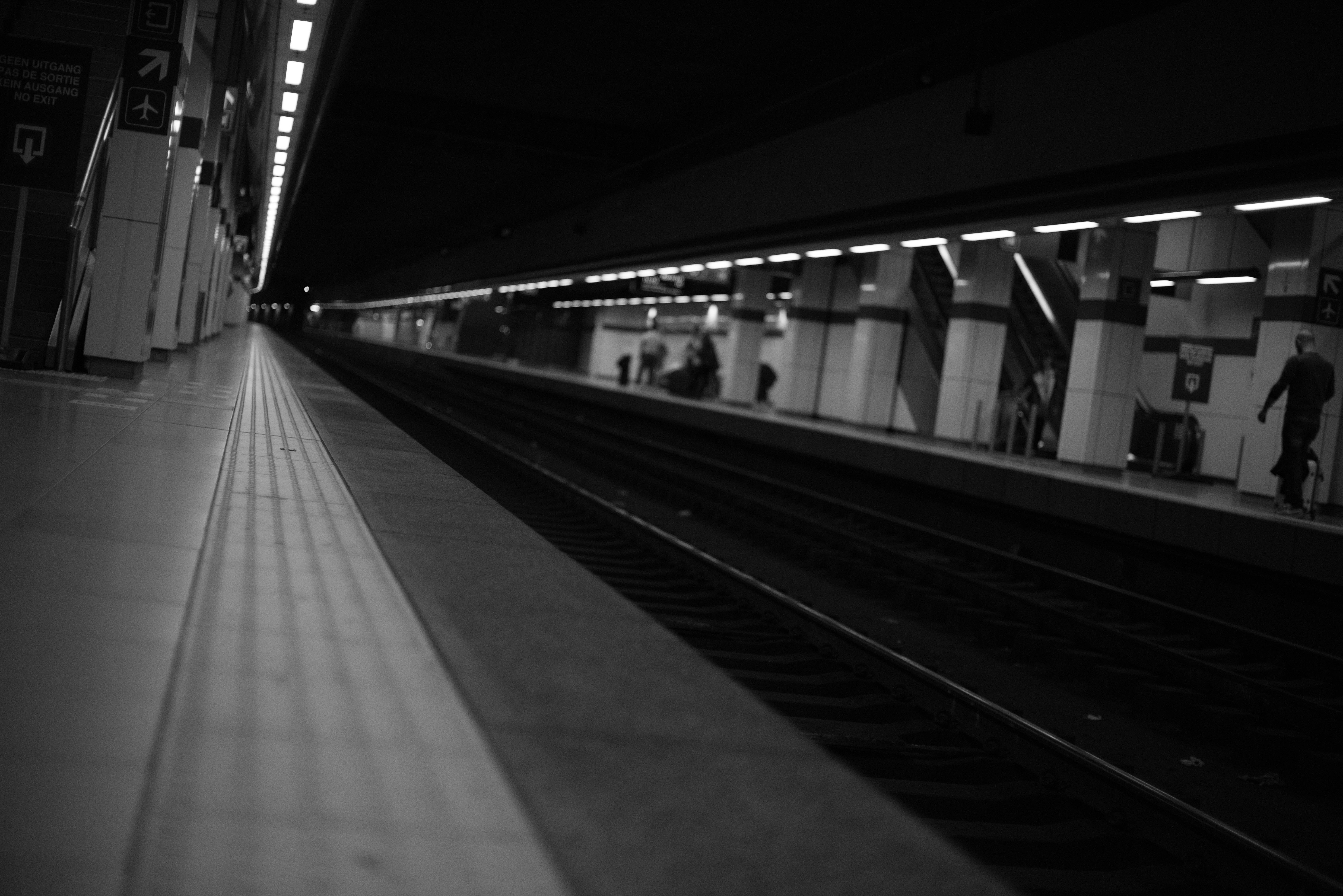 People Walking on Train Station Greyscale Photography, Black-and-white, Blur, Commuter, Light, HQ Photo