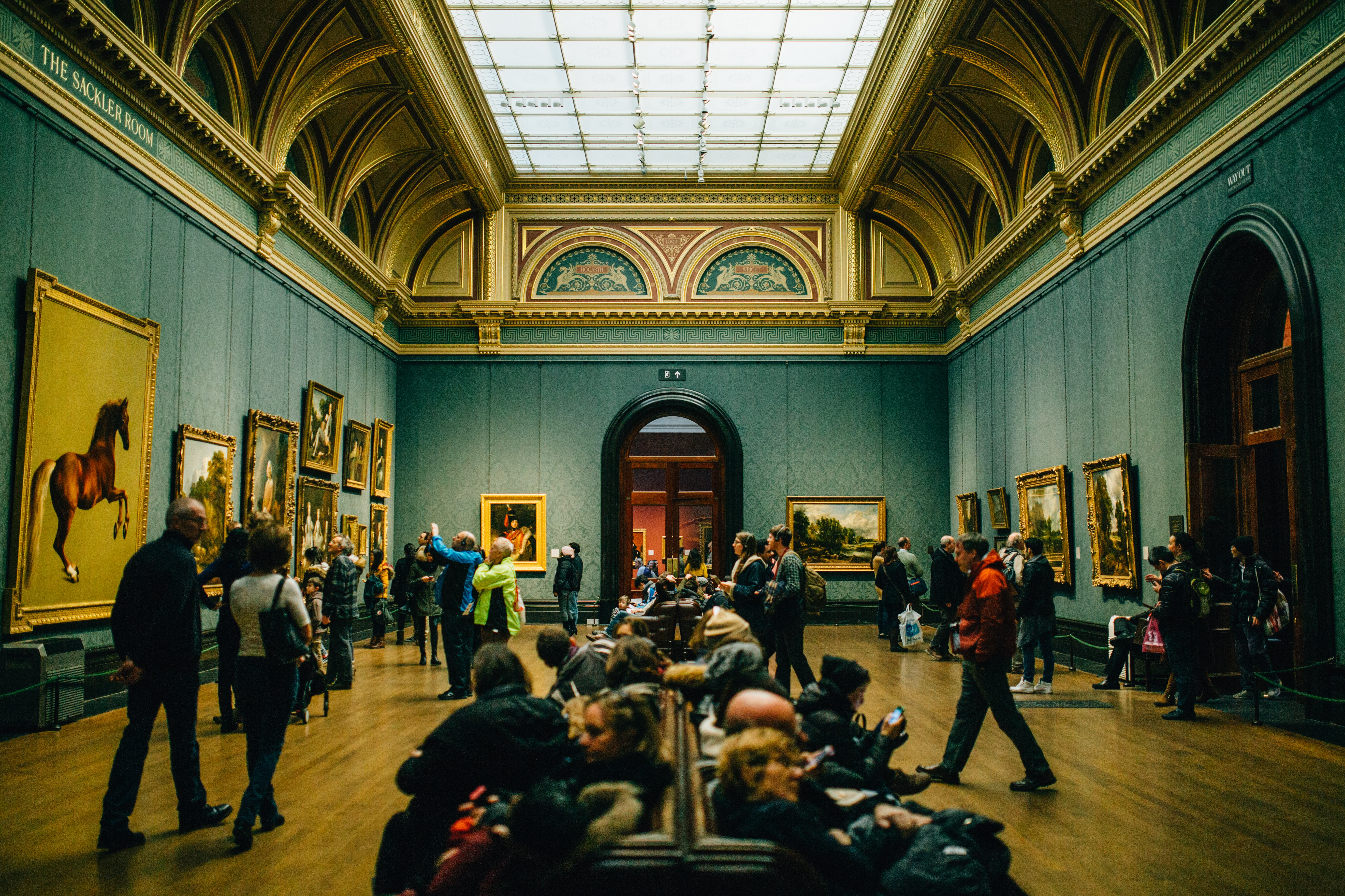 People Walking on Wooden Floor Inside Green Walled Building, Architecture, Art gallery, Cornices, Crowd, HQ Photo