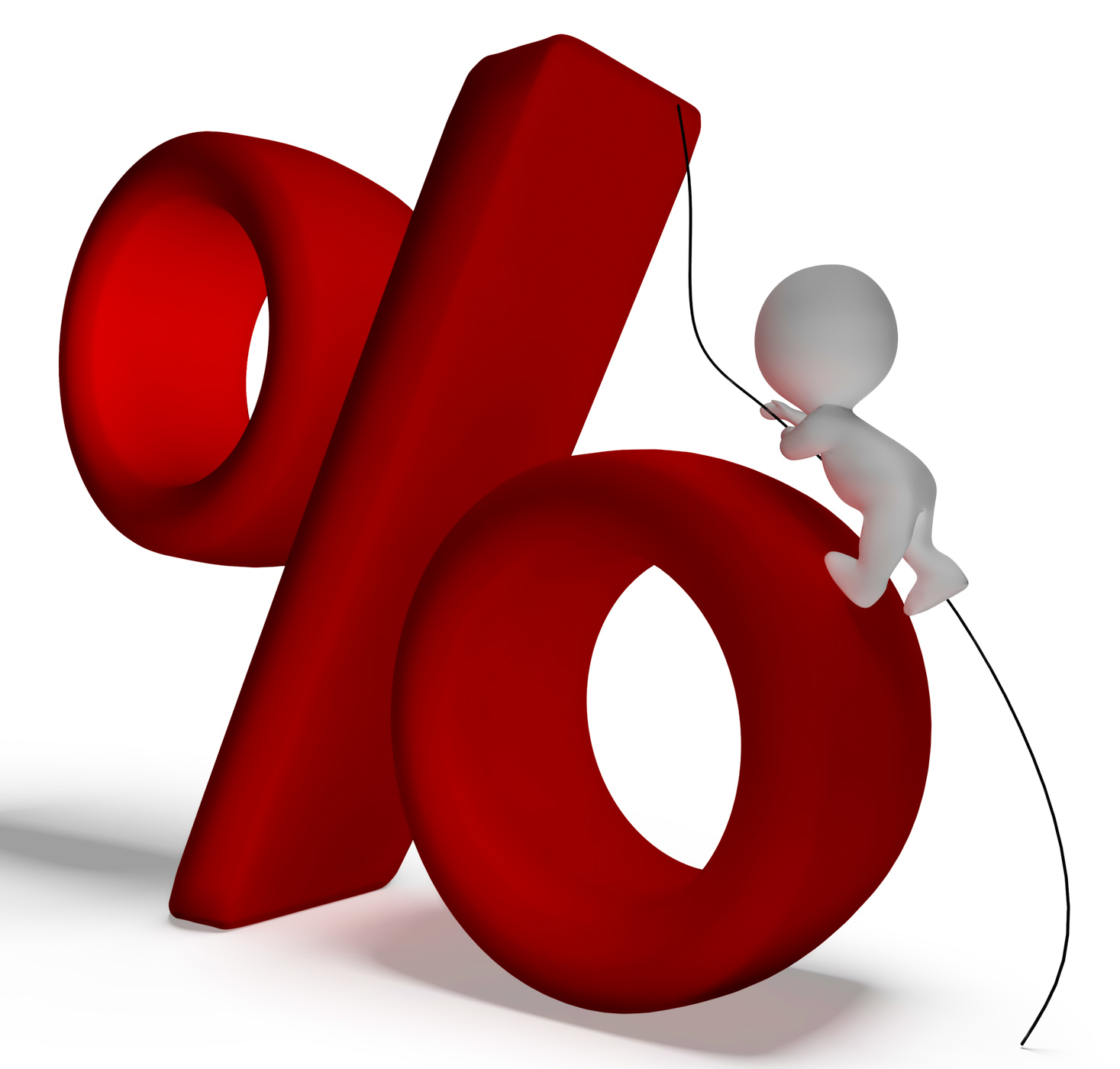 Percent sign with 3d man climbing showing percentage photo