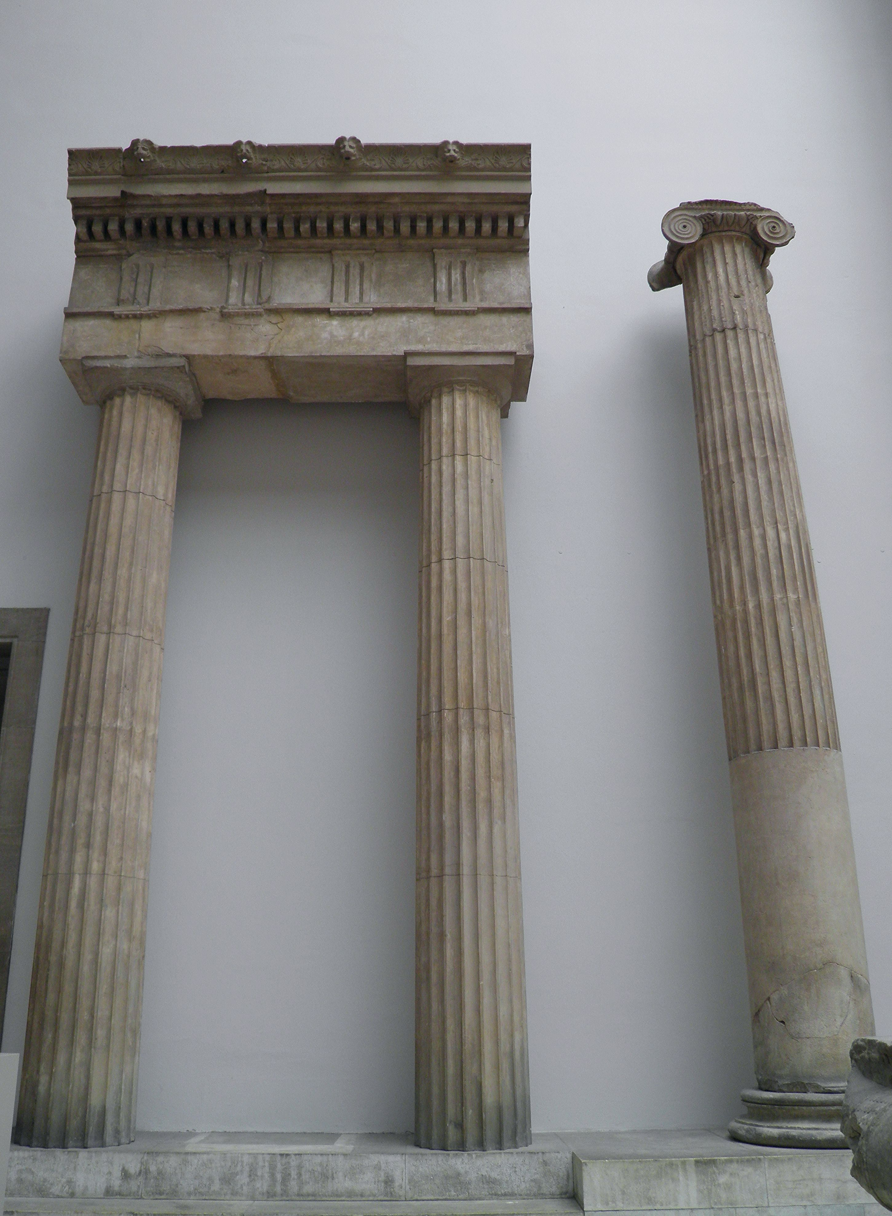 File:Pair of doric columns with entablature from the front of the ...