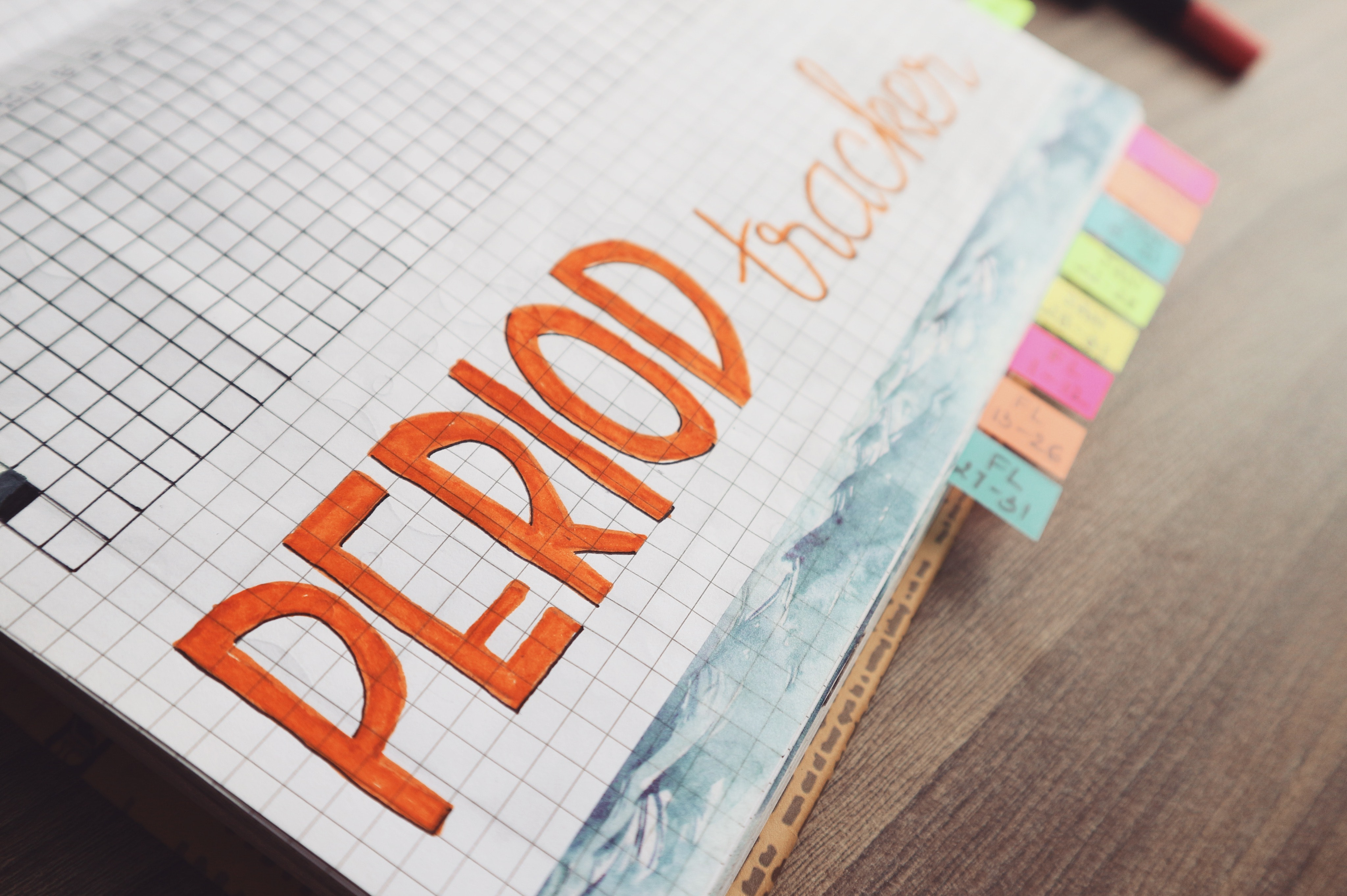 Period trackers written on graphing notebook photo