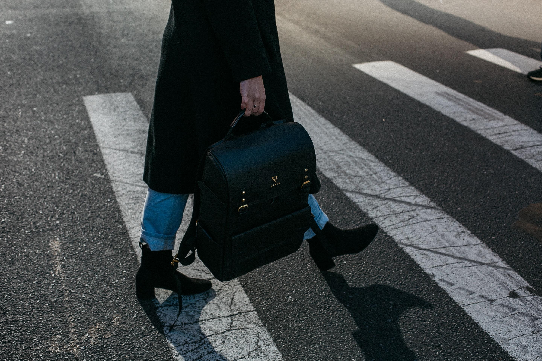 Person Carrying Bag Walking on Pedestrian Lane, Asphalt, Backpack, Bag, Coat, HQ Photo