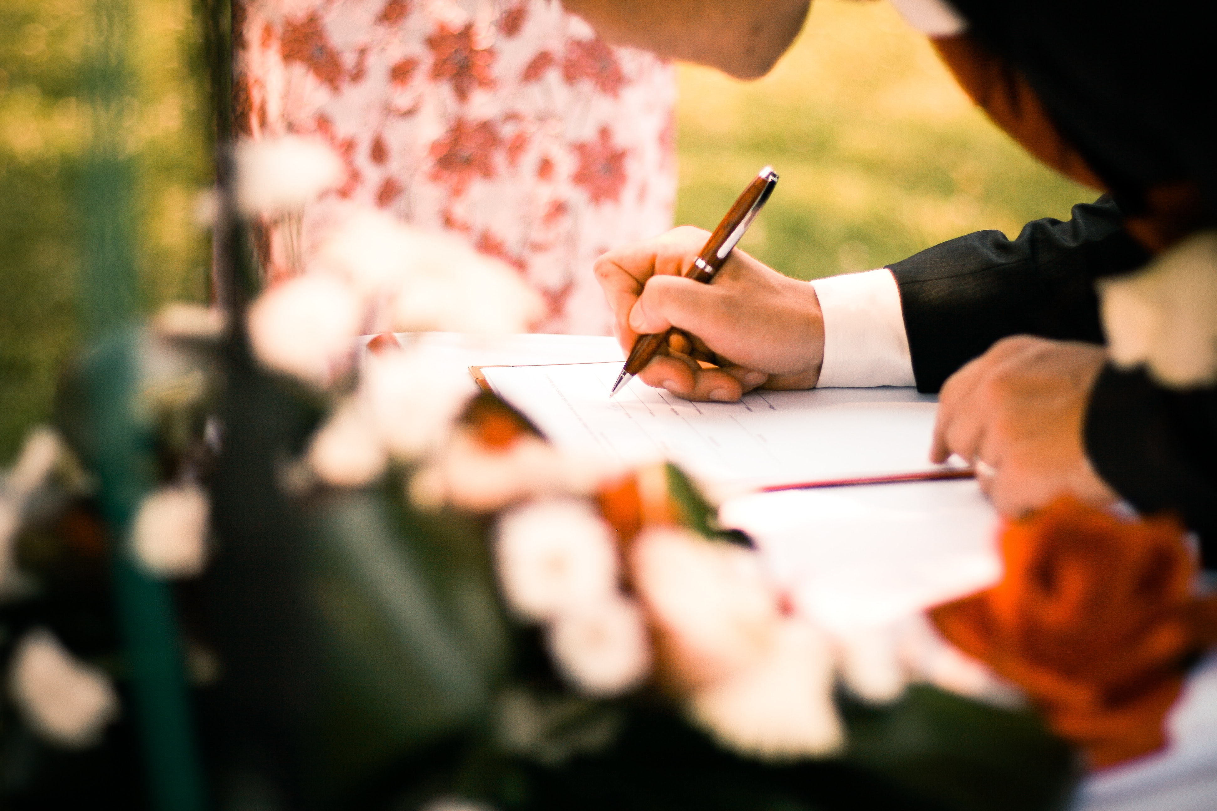 Person Drawing on White Paper, Contract, Depth of field, Flowers, Man, HQ Photo