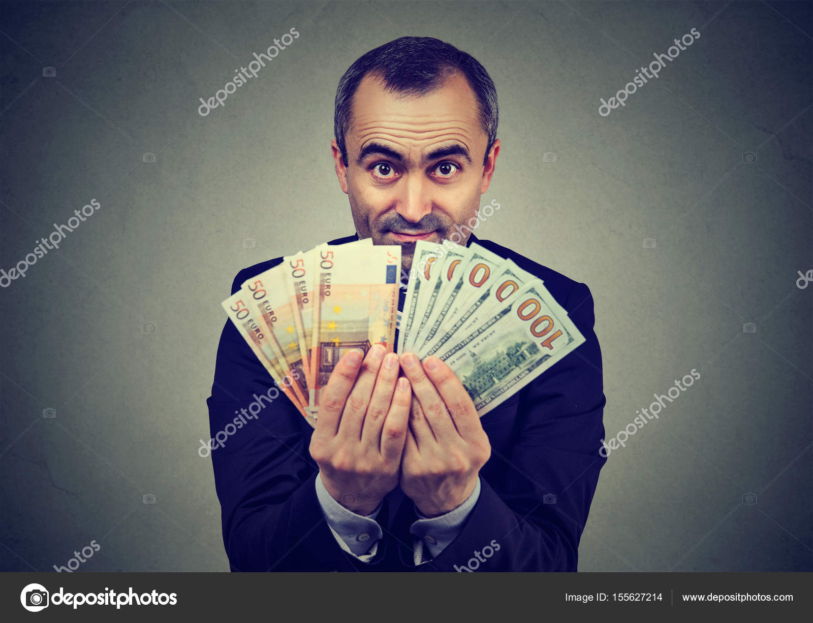 man holding money euro and dollars banknotes — Stock Photo ...