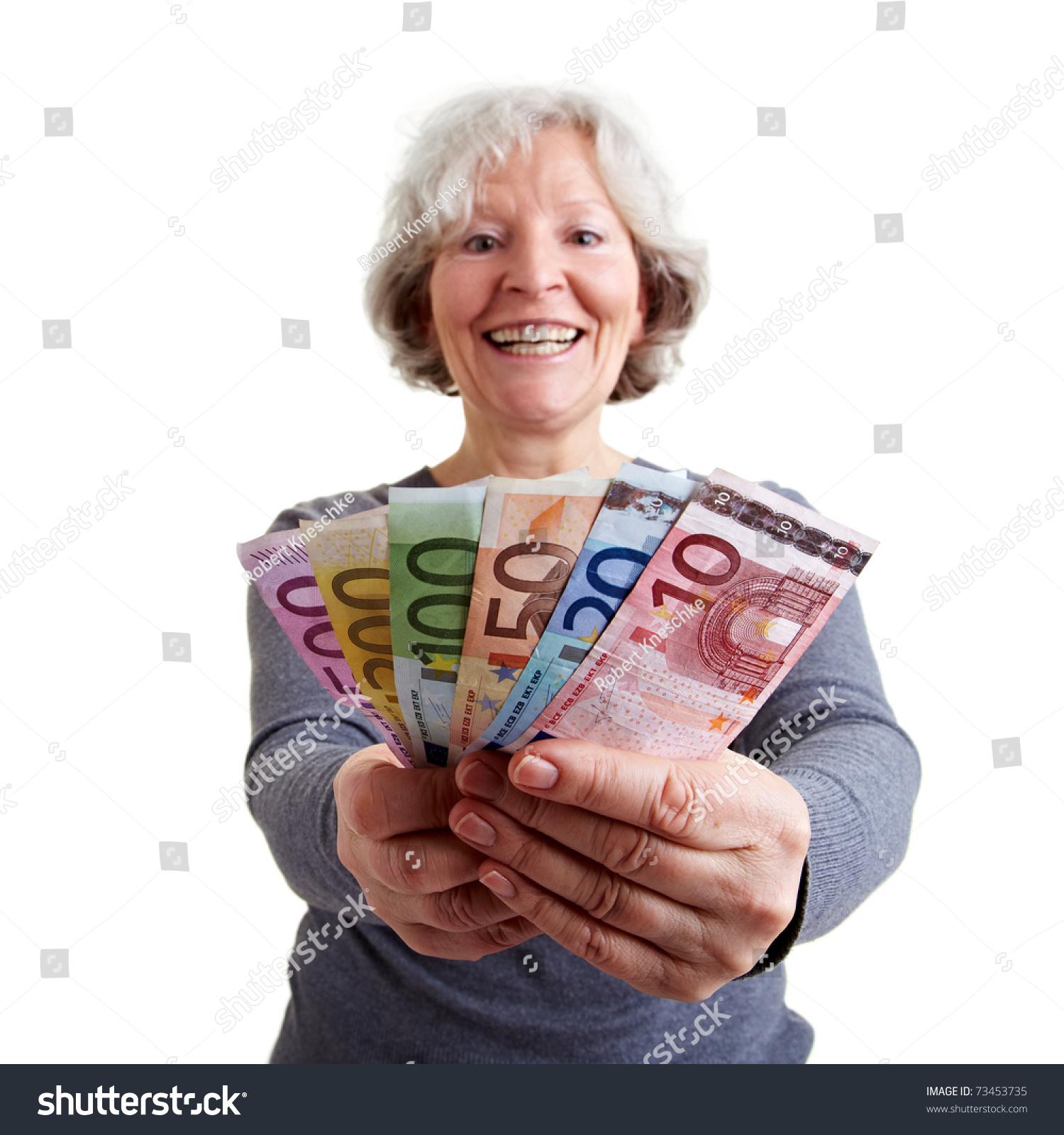 Happy Senior Woman Holding Many Euro Stock Photo (Royalty Free ...