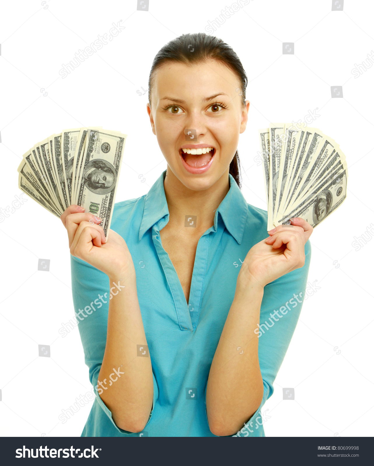 Happy Woman Holding Money Stock Photo (Download Now) 80699998 ...