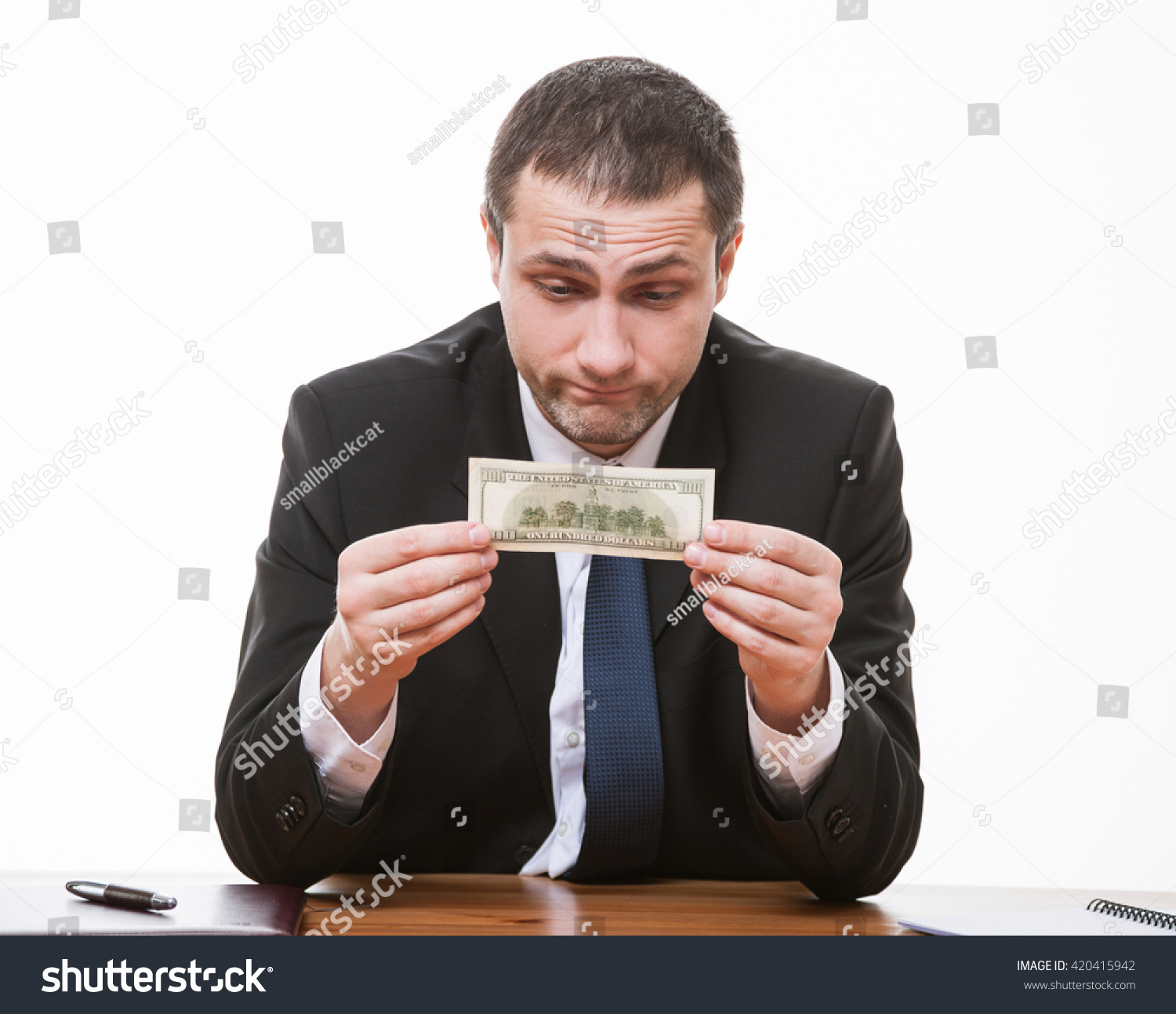 Businessman Holding Dollars Banknote Tragic Expression Stock Photo ...