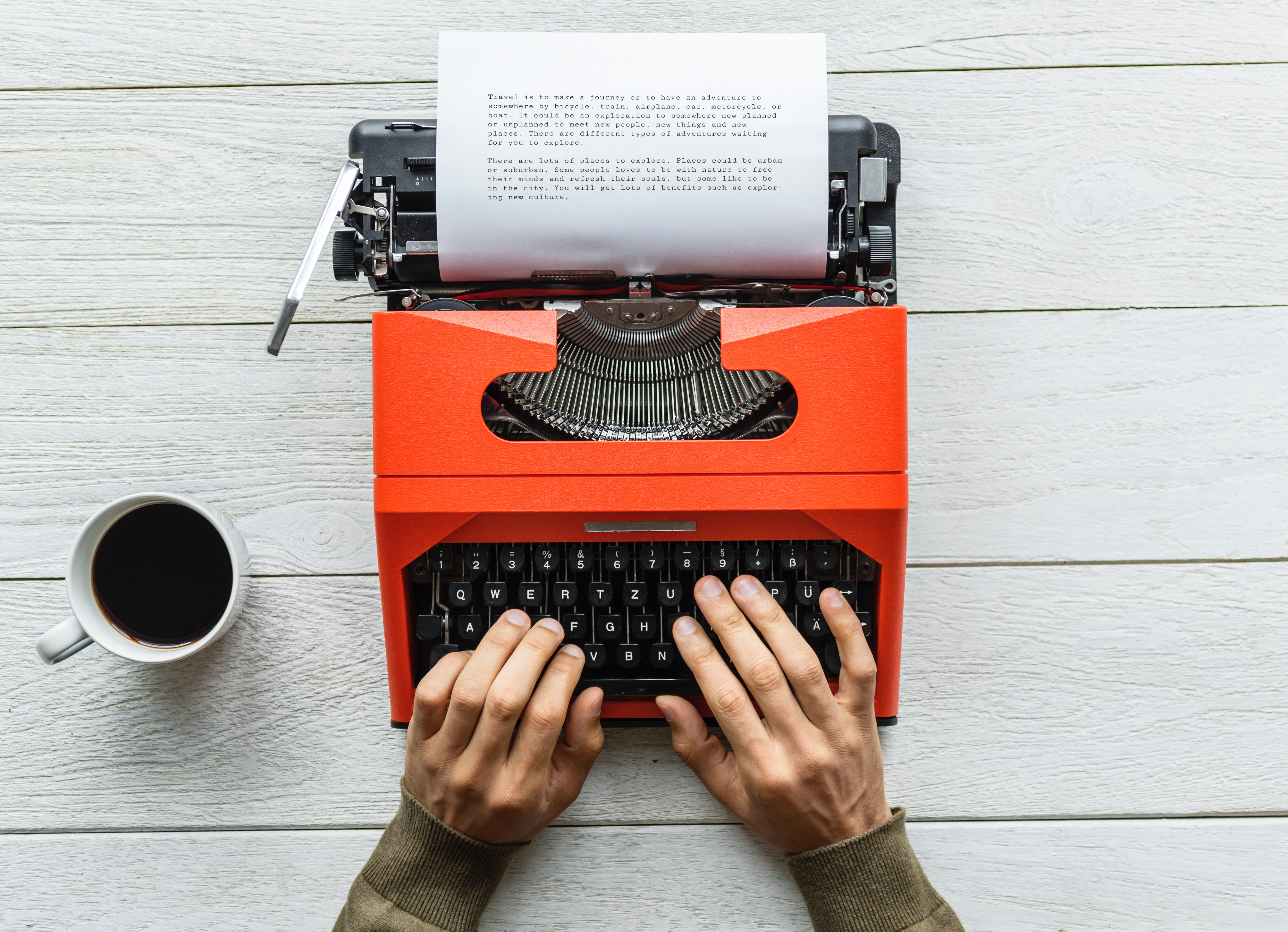 Person Holding Black and Orange Typewriter, Background, Mug, Write, Workspace, HQ Photo