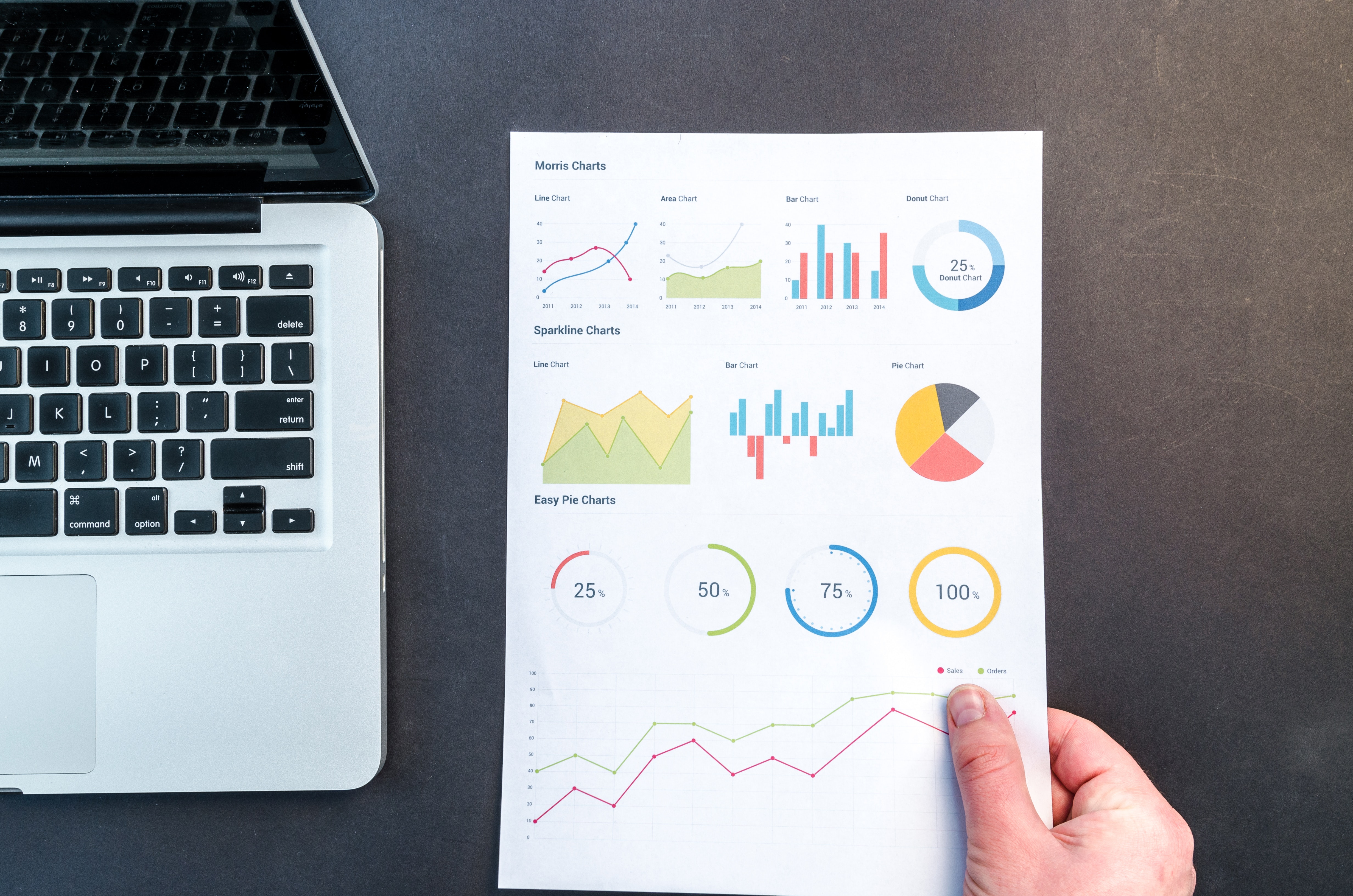 Person Holding Chart And Bar Graph, Paperwork, Paper, Laptop, Results, HQ Photo